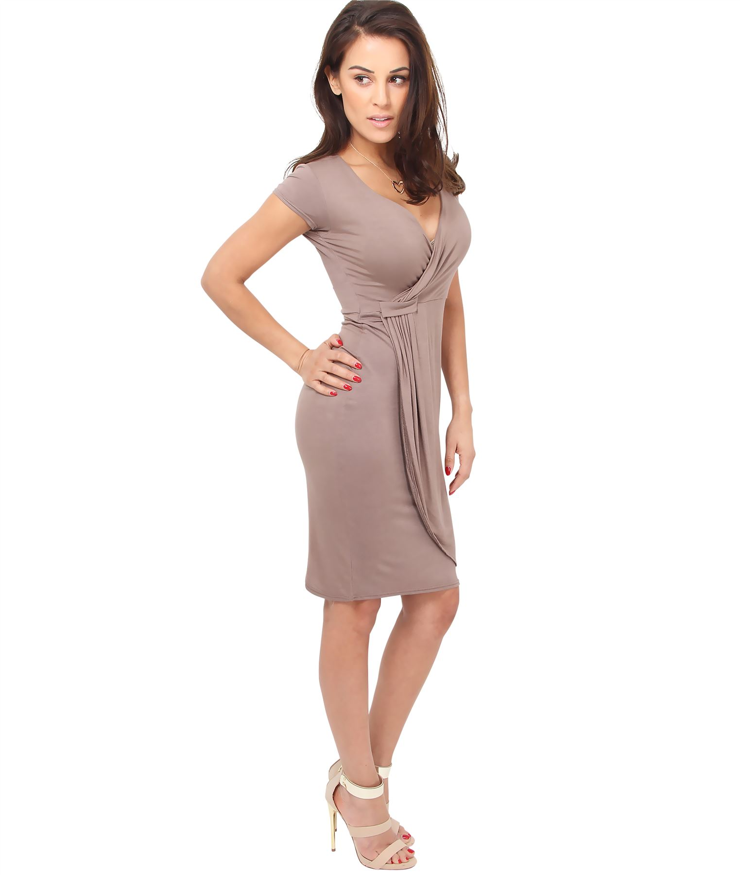 Womens-Ladies-V-Neck-Wrap-Midi-Dress-Front-Pleated-Skirt-Top-Cap-Sleeve-Party thumbnail 12