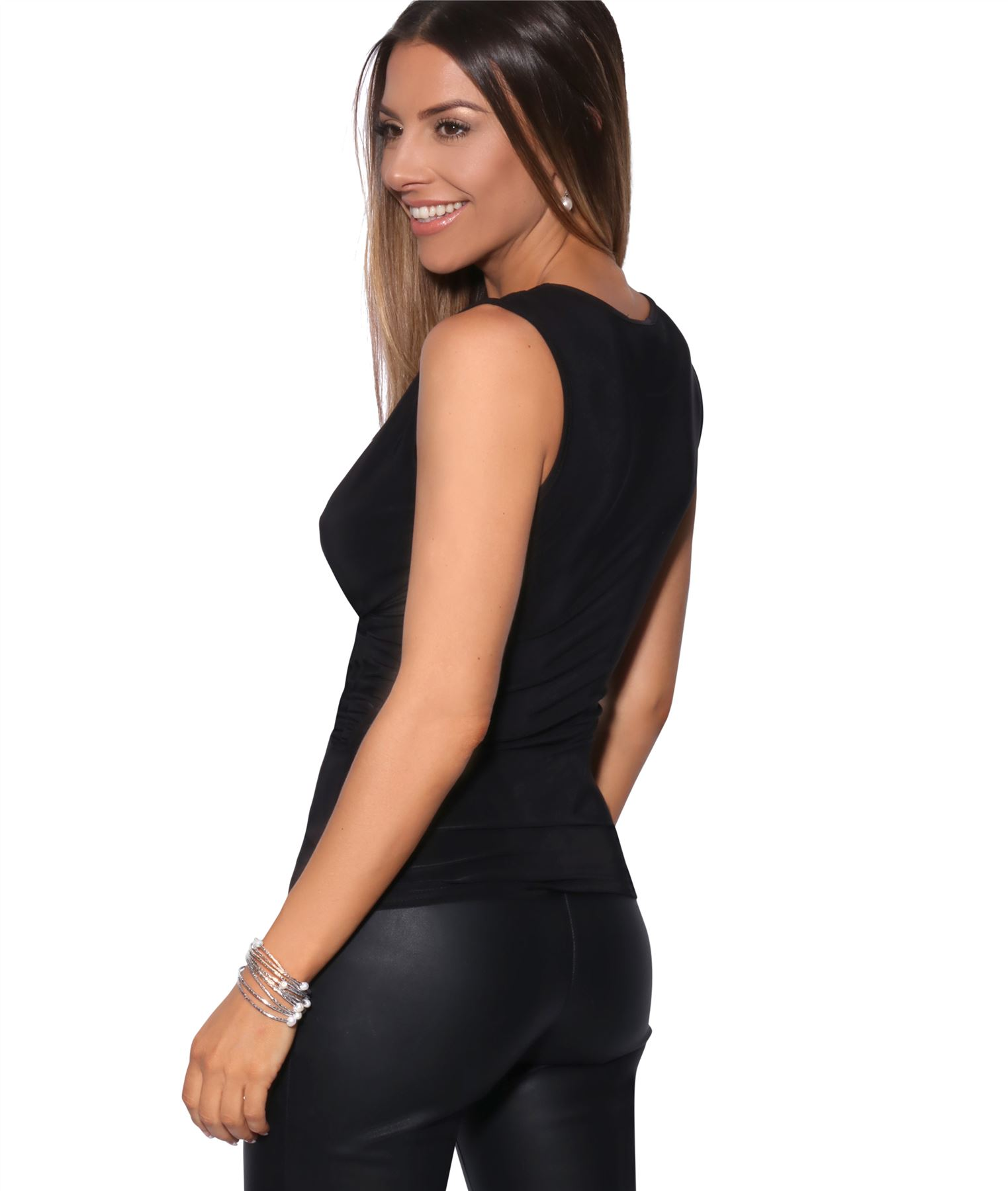 Womens-Wrap-Blouse-V-Neck-Sleeveless-T-Shirt-Evening-Tops-Stretch-Ruched-Party thumbnail 3