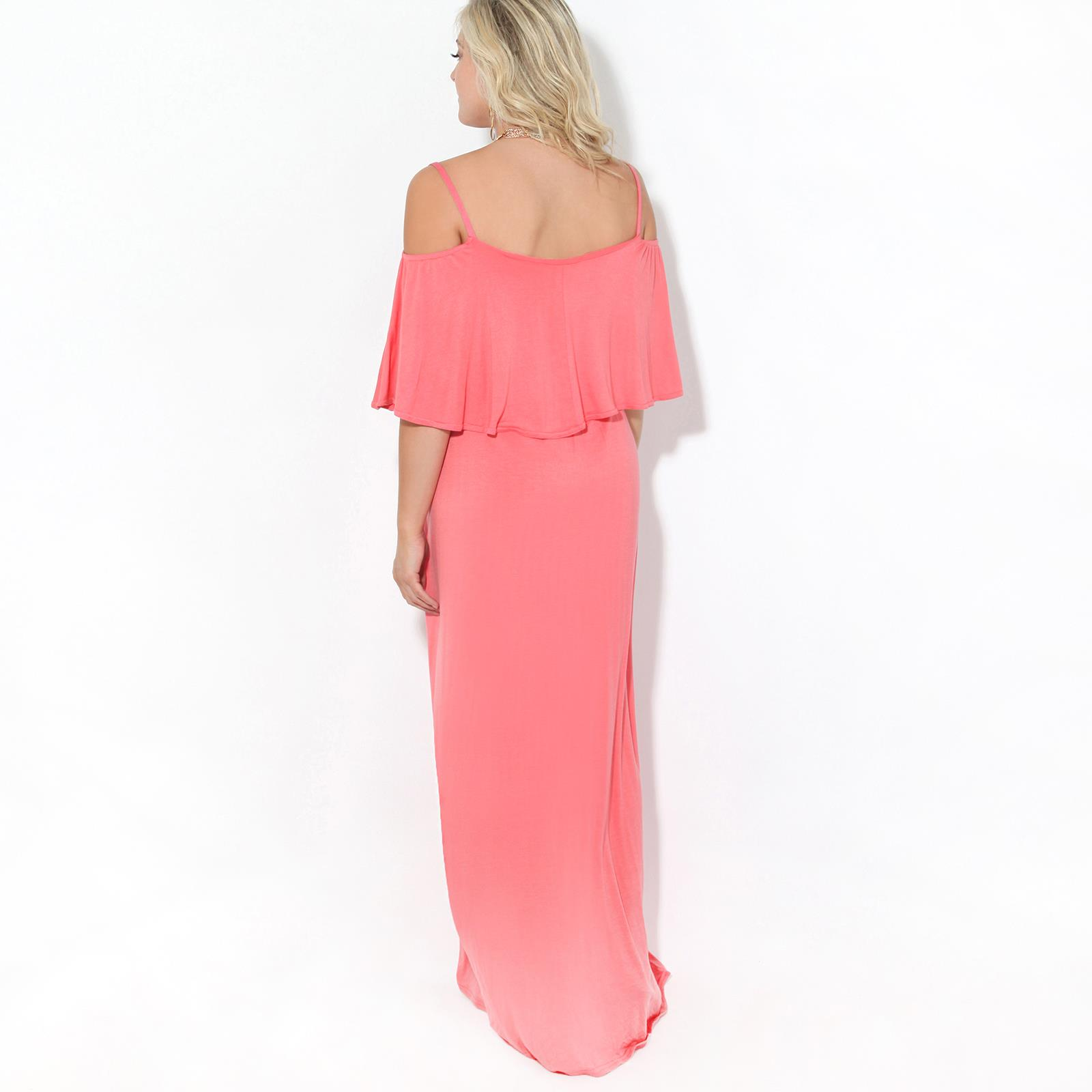 Womens-Ladies-Maxi-Dress-Sundress-Cold-Off-Shoulder-Strappy-Ruffle-Jersey-Summer thumbnail 4