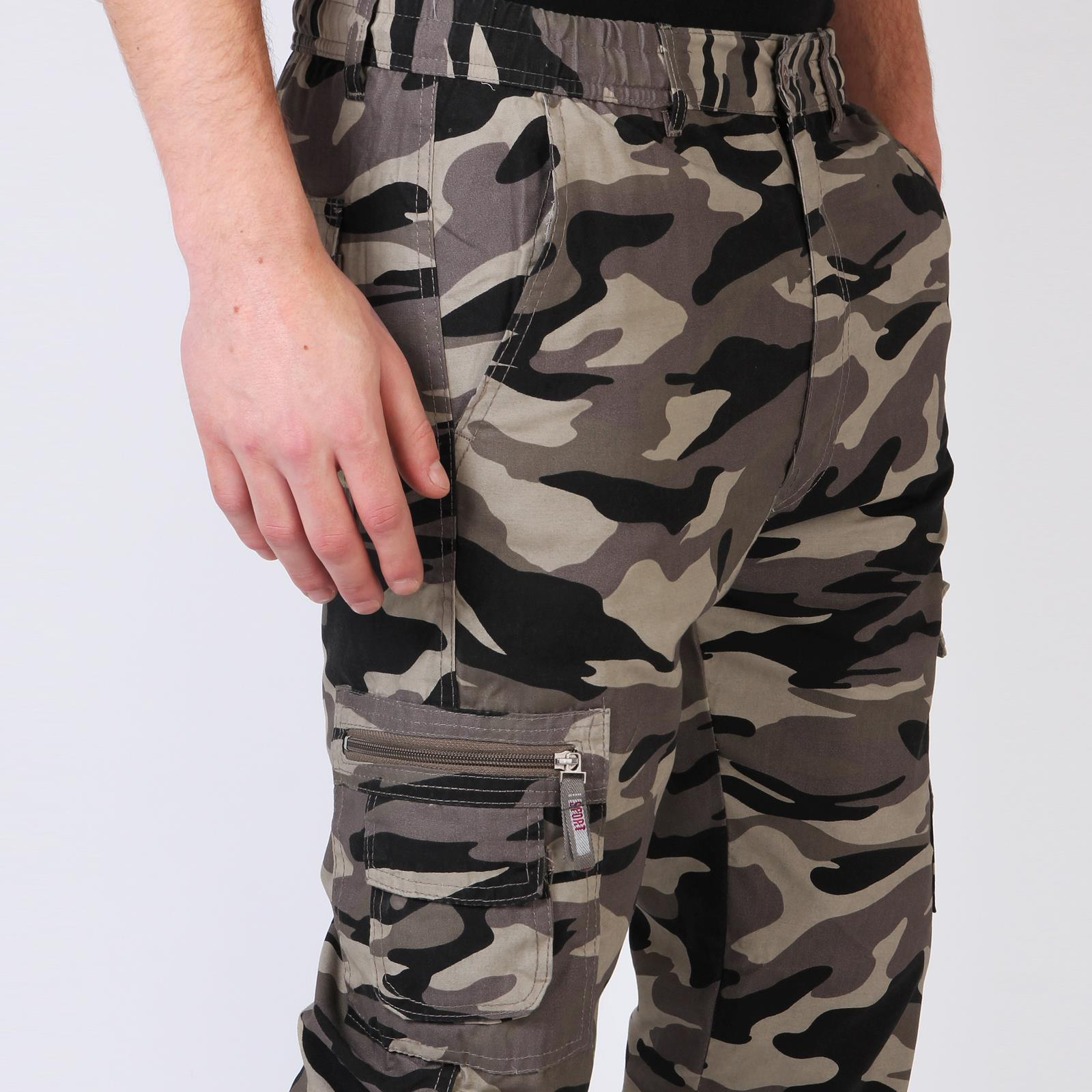 Homme-Pantalon-Imprime-Camouflage-Cargo-Multi-Poches-Style-Militaire miniature 9