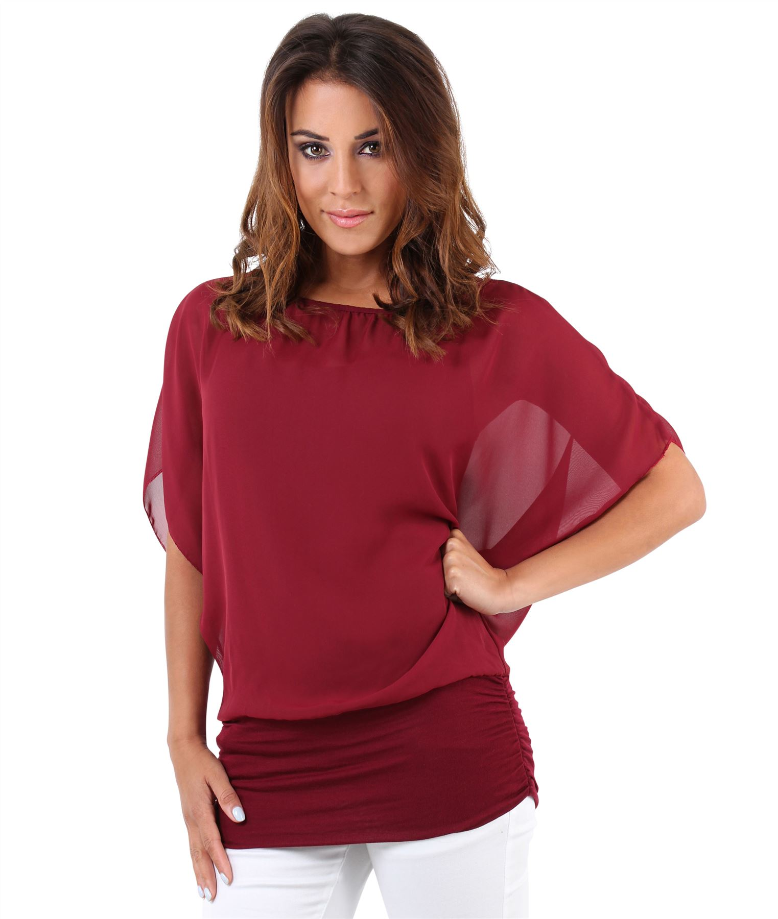 Womens-Scoop-Neck-Blouse-Baggy-Batwing-T-Shirt-Top-Ladies-Oversized-Chiffon-2in1 thumbnail 33