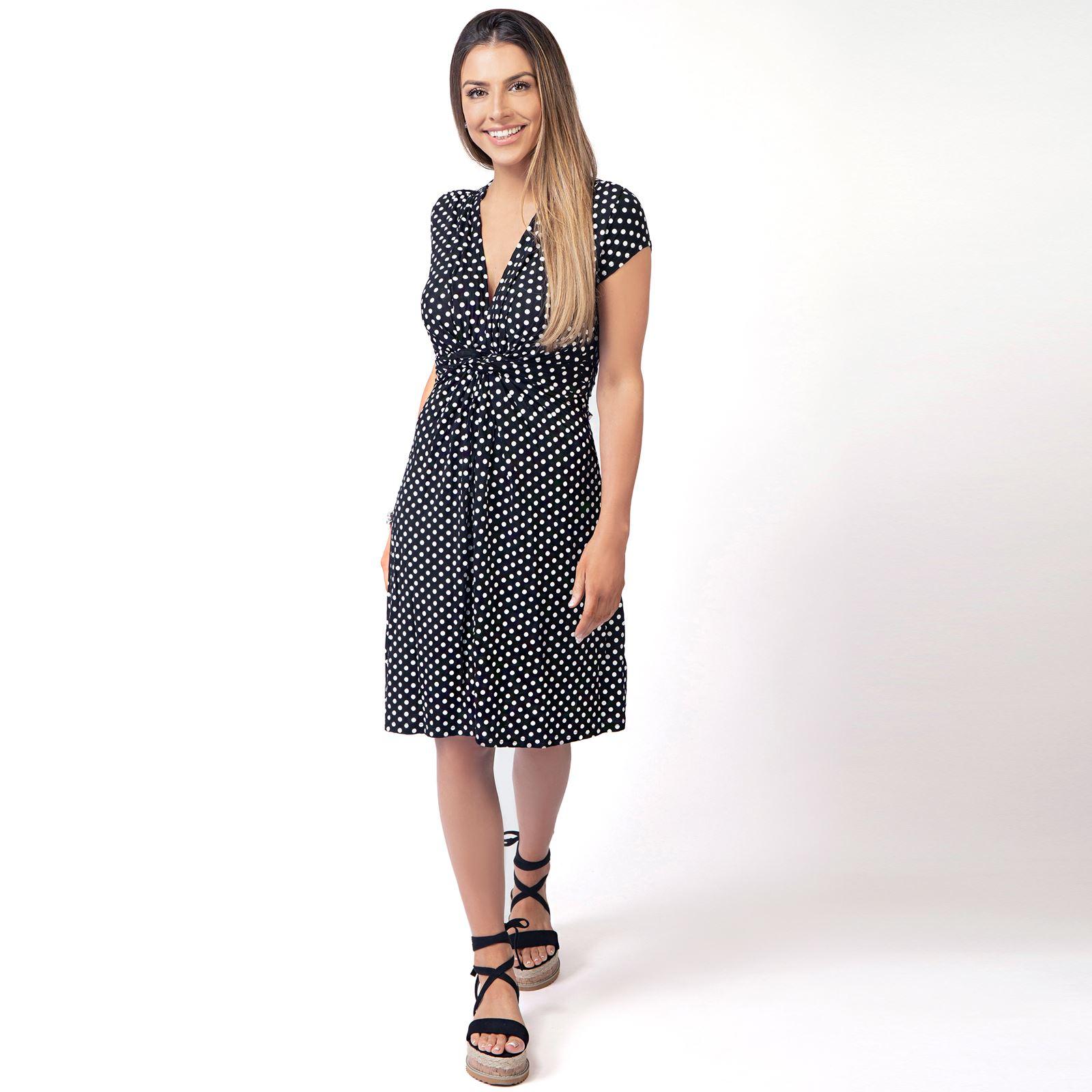 Polka-Dot-Dress-Pleated-Skirt-V-Neck-Mini-Front-Knot-Wrap-Swing-Top-Black-Navy thumbnail 3