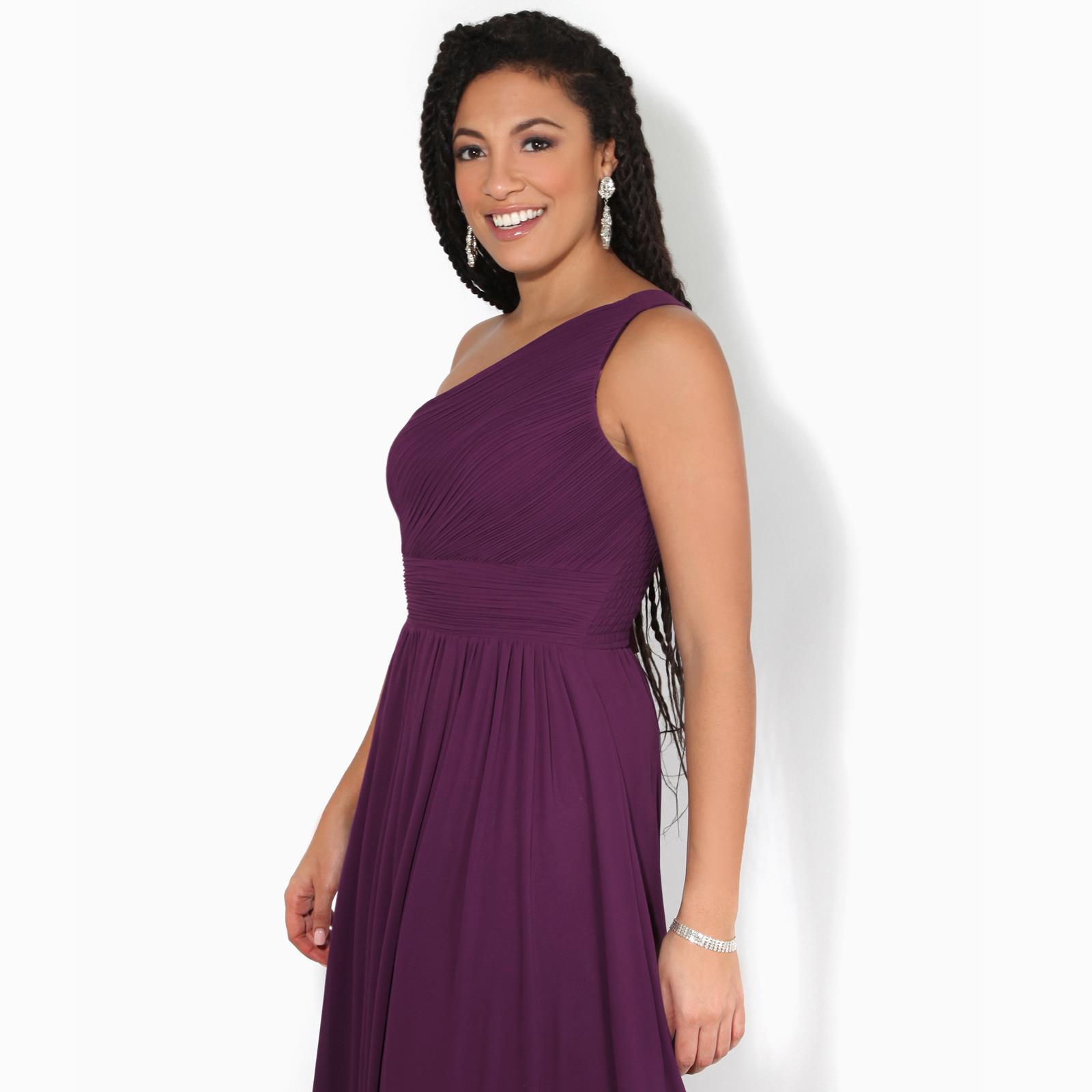Womens-Wedding-Bridesmaid-Prom-Dress-Formal-One-Off-Shoulder-Long-Evening-8-18 thumbnail 7