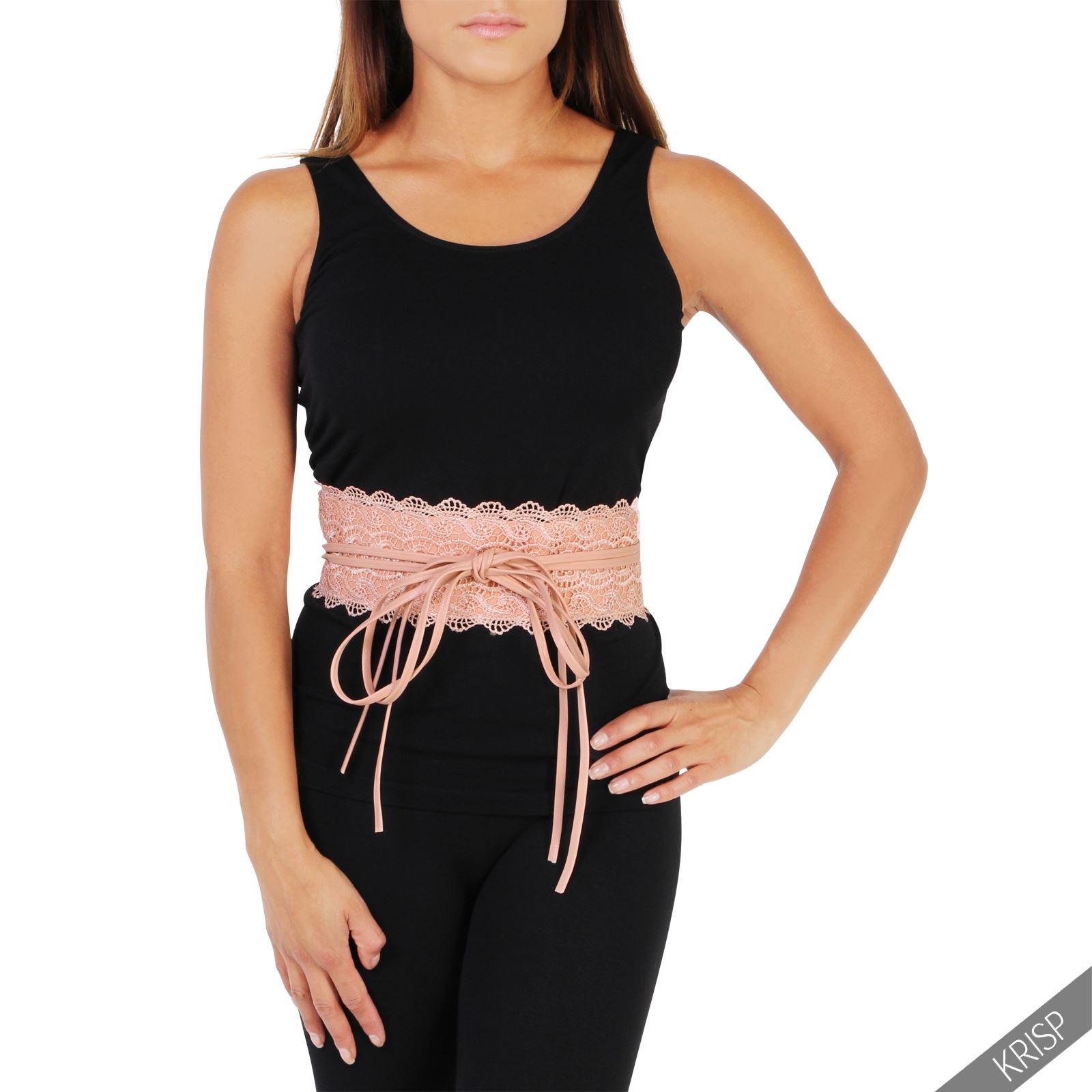 thumbnail 40 - Womens-Ladies-Wide-Waist-Belt-Floral-Waistband-Pattern-Band-Crochet-Lace-Corset