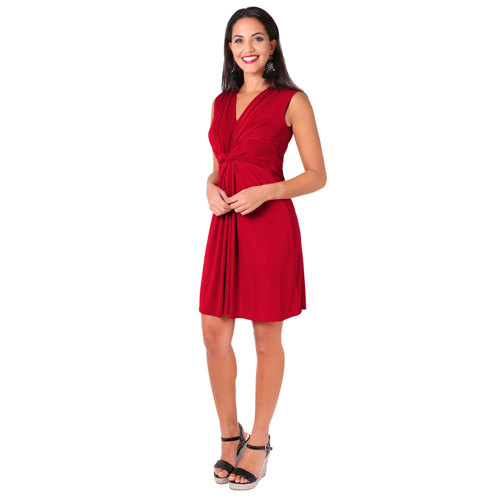Womens Ruched Twist Knot Front Low Cut V Neck Top Pleated