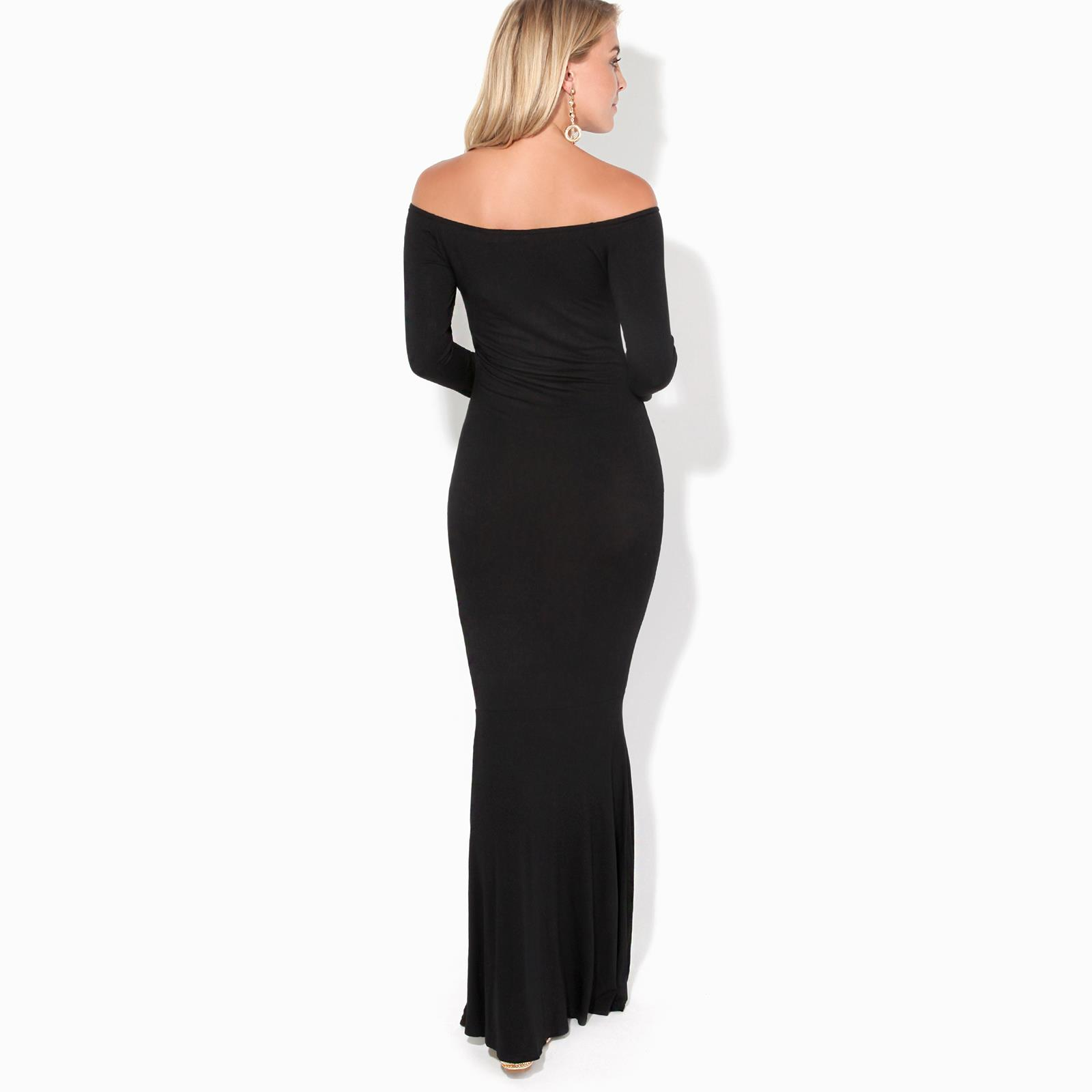Womens-Ladies-Bodycon-Maxi-Dress-Off-Shoulder-Fishtail-Bardot-Long-Evening-Party thumbnail 4