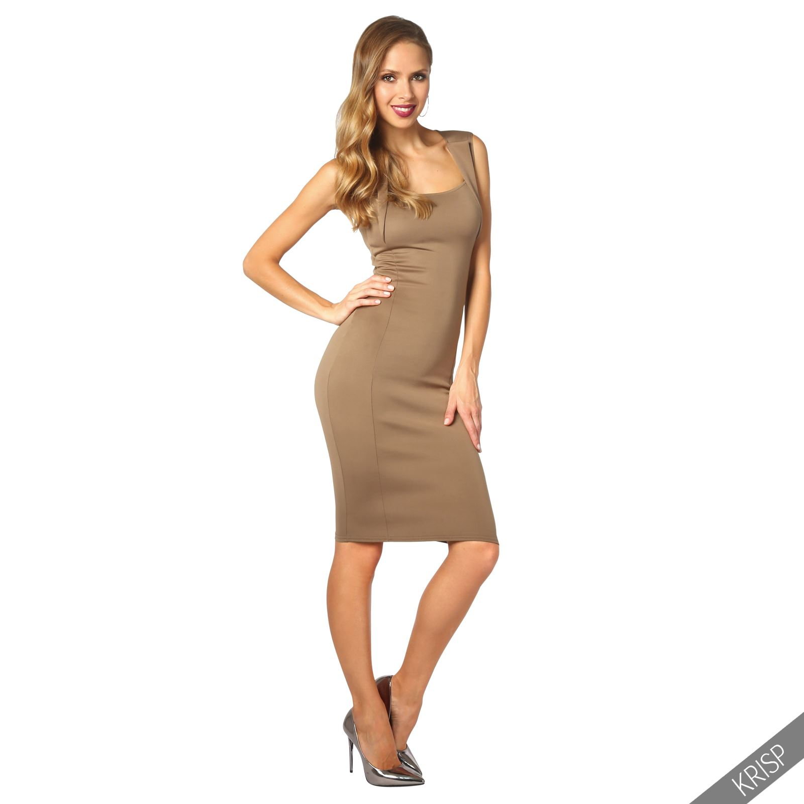 Womens-Pencil-Midi-Bodycon-Dress-Square-Neck-Panelled-Sexy-Zip-Party-Evening thumbnail 13