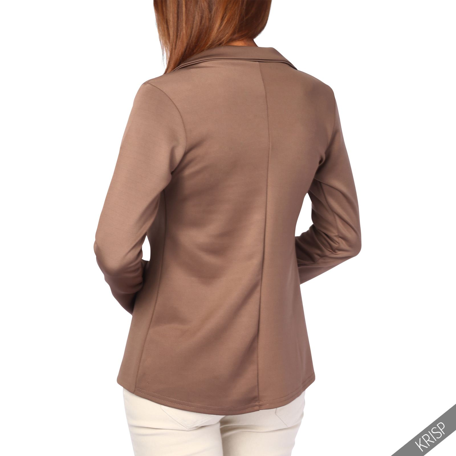 Womens-Jacket-Shrug-Casual-Blazer-Jersey-Smart-Suit-Ladies-Office-Evening-Coat thumbnail 17
