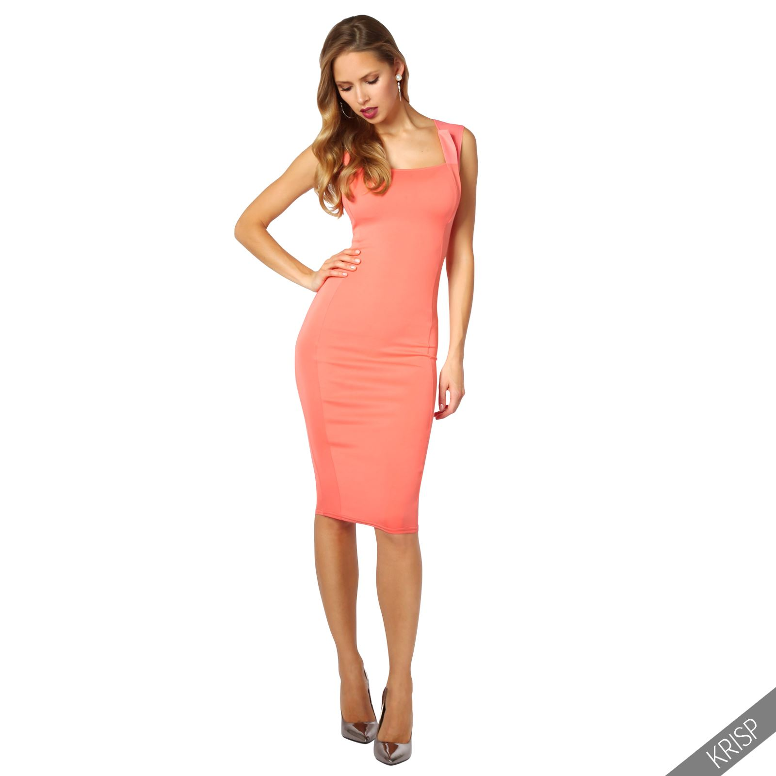Womens-Pencil-Midi-Bodycon-Dress-Square-Neck-Panelled-Sexy-Zip-Party-Evening thumbnail 10