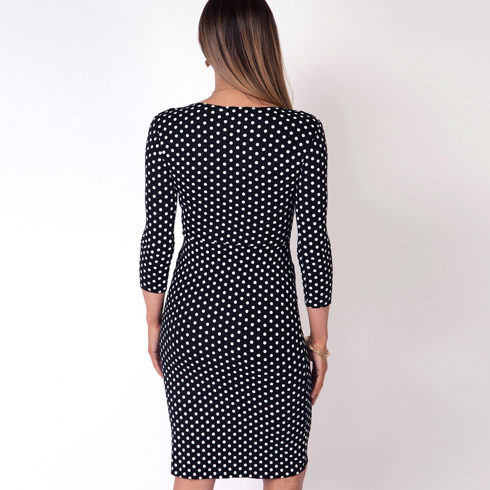 Robe Elégante Mode Chic Pois Femme Cœur Portefeuille Classique Cache 3cq54RAjL