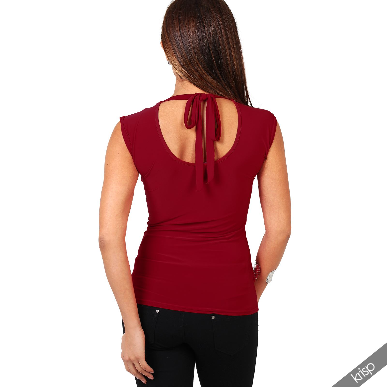 Womens-Ladies-Cowl-Neck-Blouse-Sleeveless-Stretch-Summer-Jersey-Top-Size-8-20 thumbnail 20
