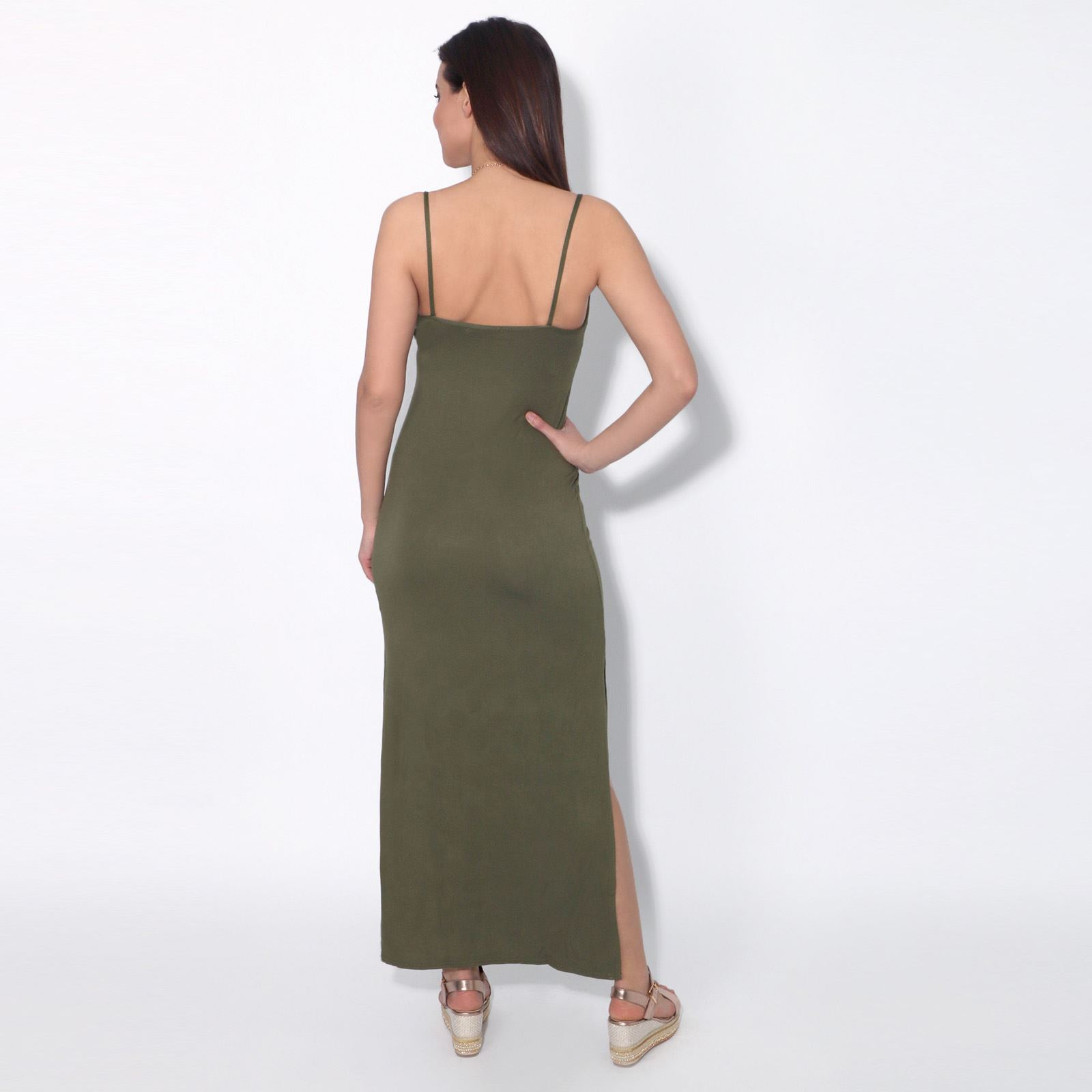 Womens-Ladies-Open-Side-Maxi-Dress-Strappy-Stretch-Loose-Long-Skirt-Summer-Party thumbnail 7