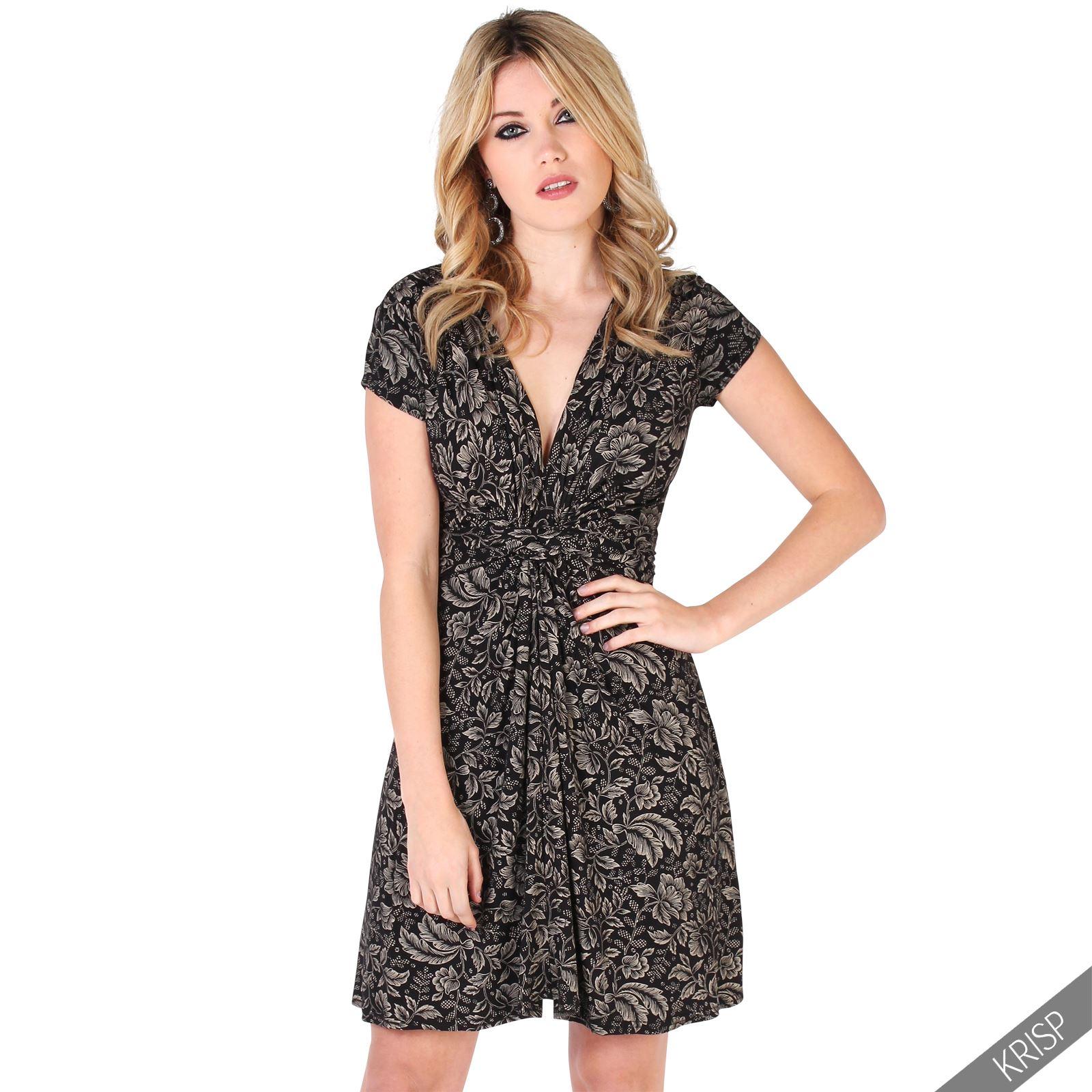 damen kleid mini vorn geknotet blumen muster wickelkleid v ausschnitt ebay. Black Bedroom Furniture Sets. Home Design Ideas