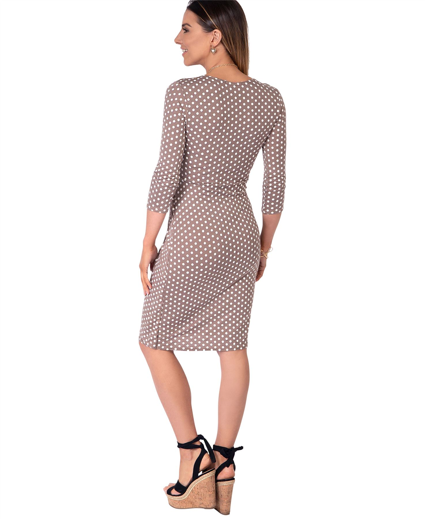 Womens-Polka-Dot-Dress-Pleated-Skirt-Wrap-Front-Midi-V-Neck-Top-Swing-Party thumbnail 15