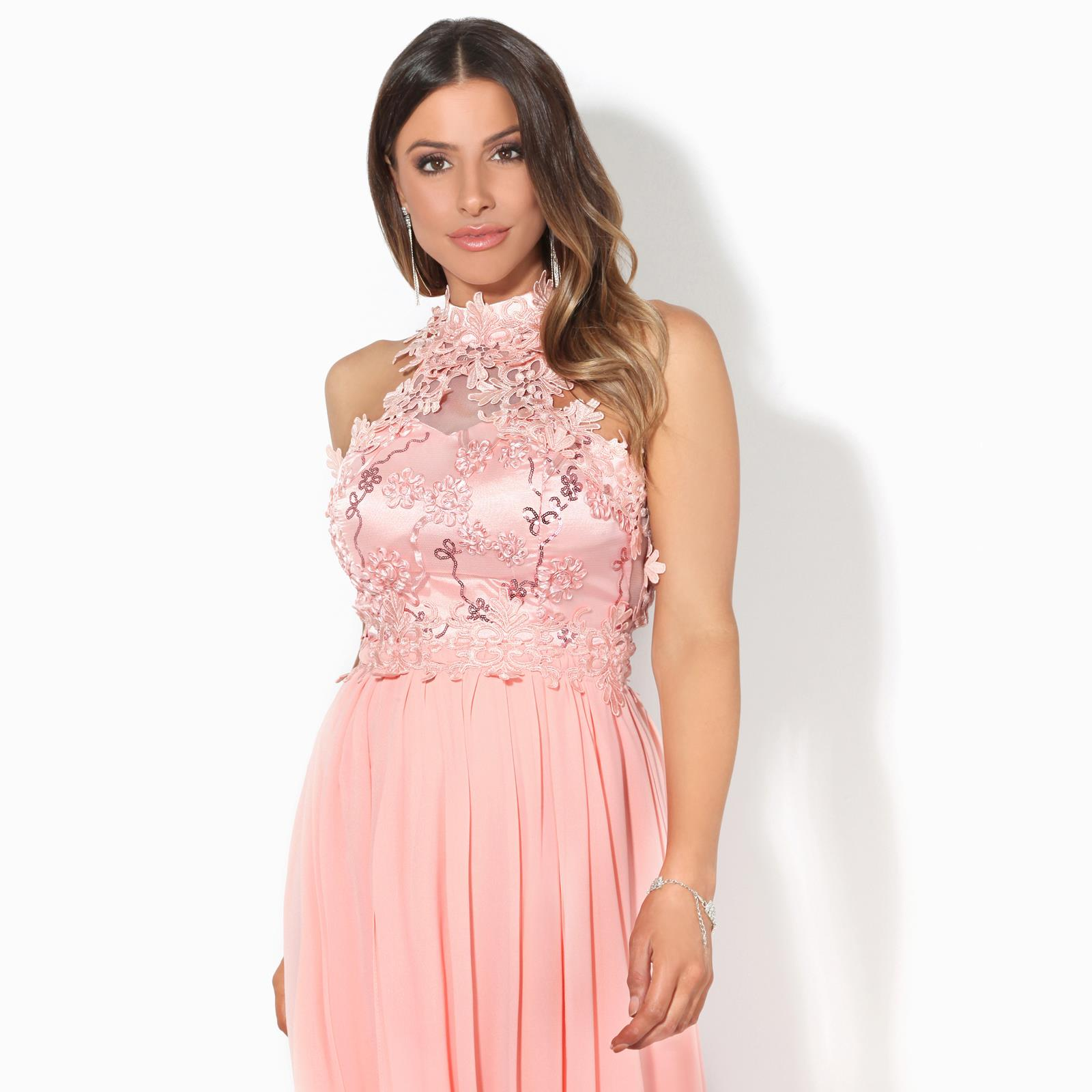 Women-Lace-Halterneck-Maxi-Dress-Long-Evening-Cocktail-Ball-Gown-Formal-Party thumbnail 9