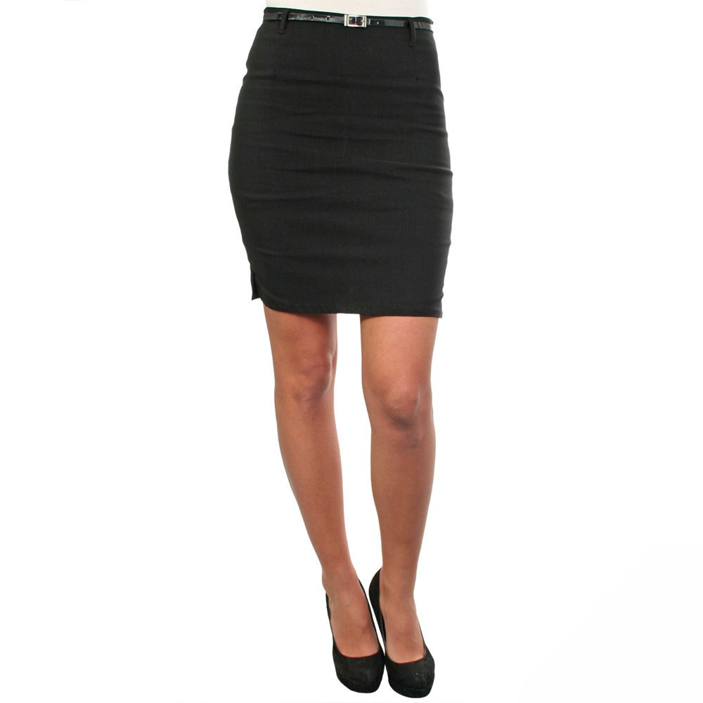 Womens-Belted-Fitted-Stretch-Pencil-Short-Mini-Skirt-Formal-Business-Evening thumbnail 4