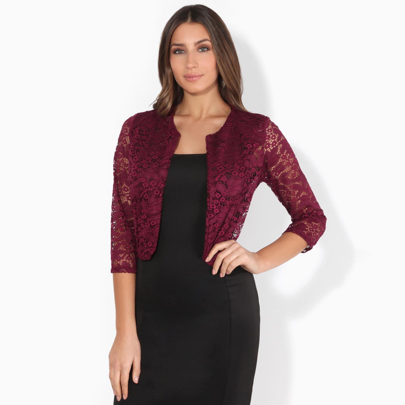 Women-Ladies-Lace-Shrug-Bolero-Crop-Top-Open-Wrap-Jacket-Evening-Party-Wedding thumbnail 15
