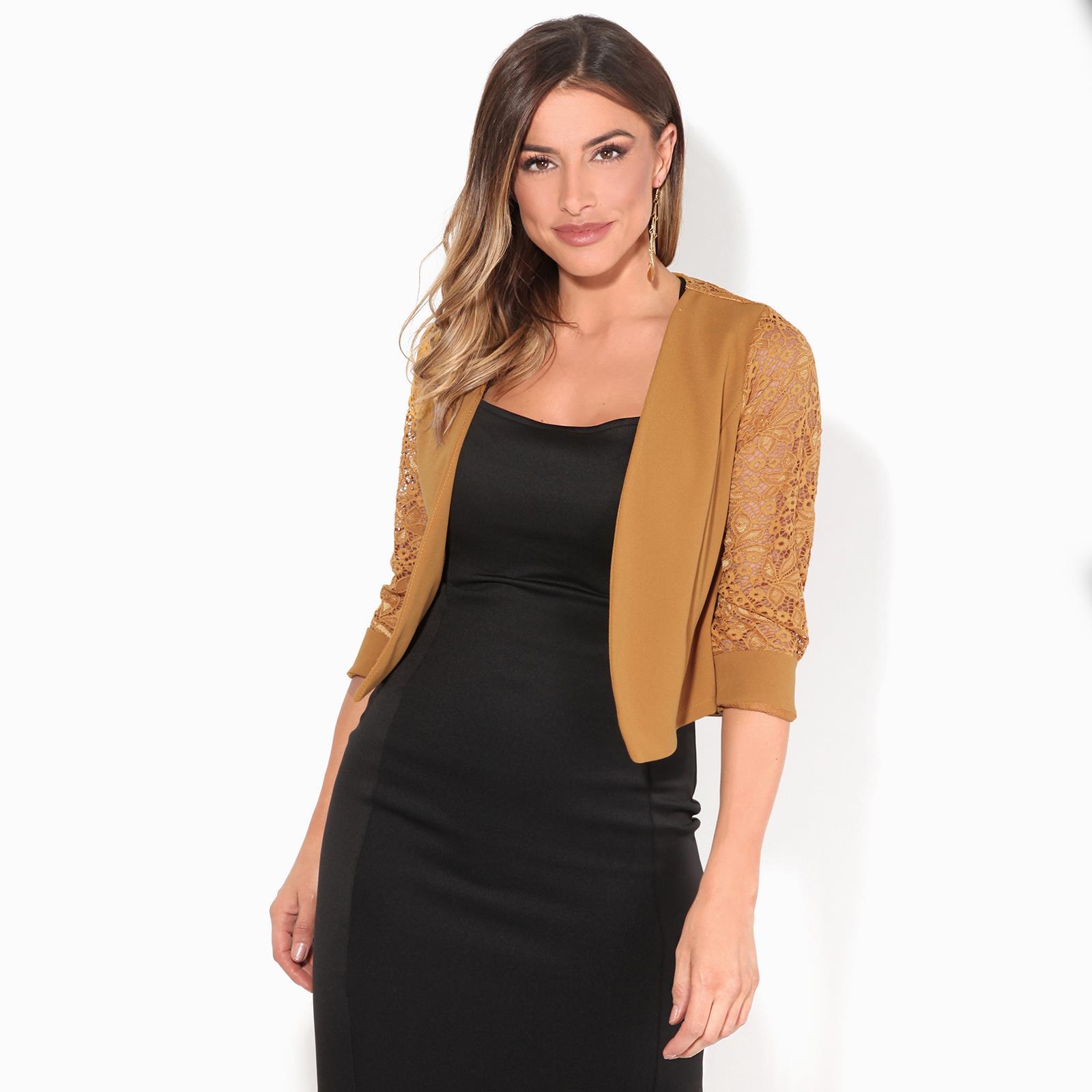 Womens-Ladies-Bolero-Lace-Shrug-Short-Sleeve-Cardigan-Cropped-Party-Top-Jacket thumbnail 10