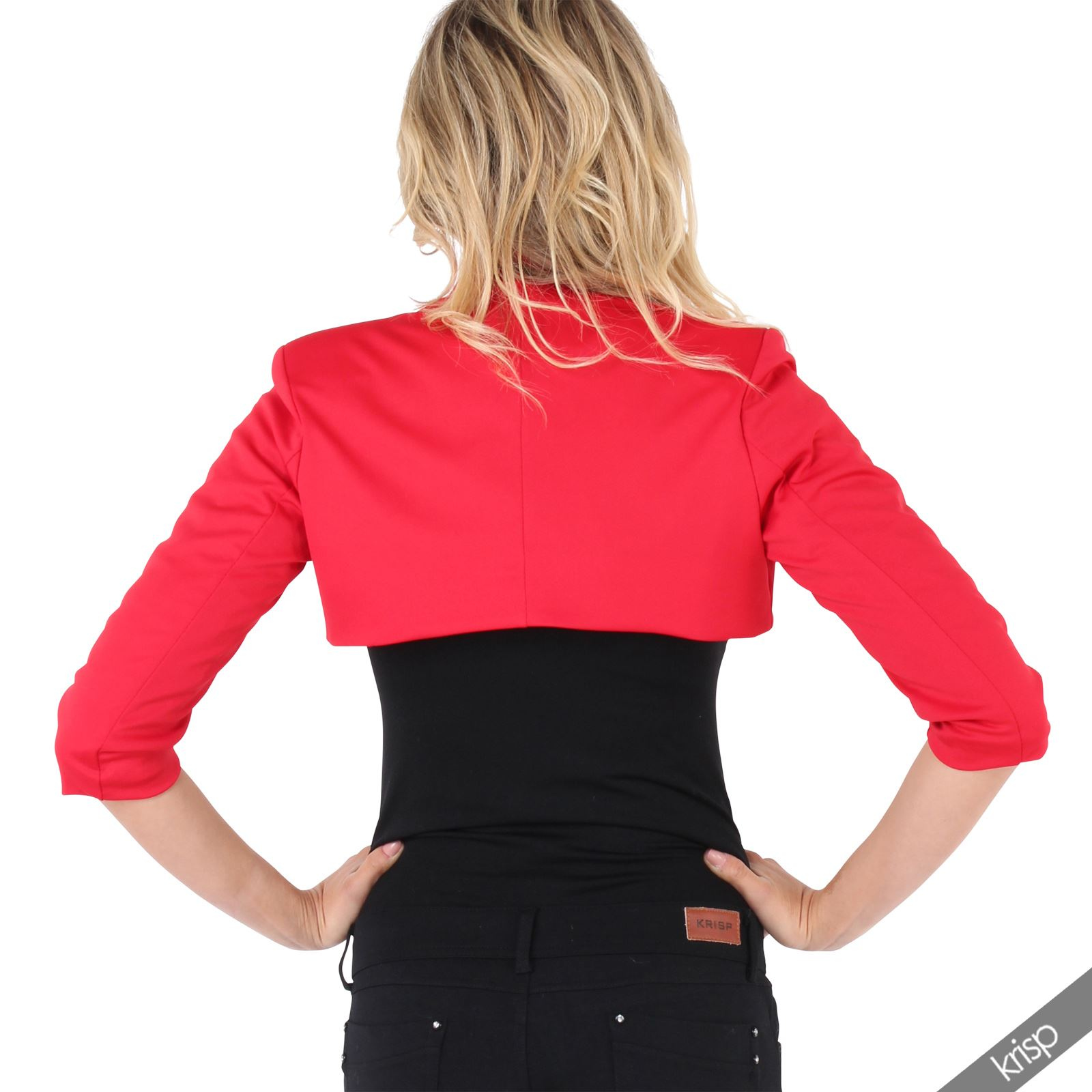 Womens-Tailored-Bolero-Shrug-Cropped-Top-Short-Sleeve-Party-Blazer-Jacket-Coat thumbnail 18