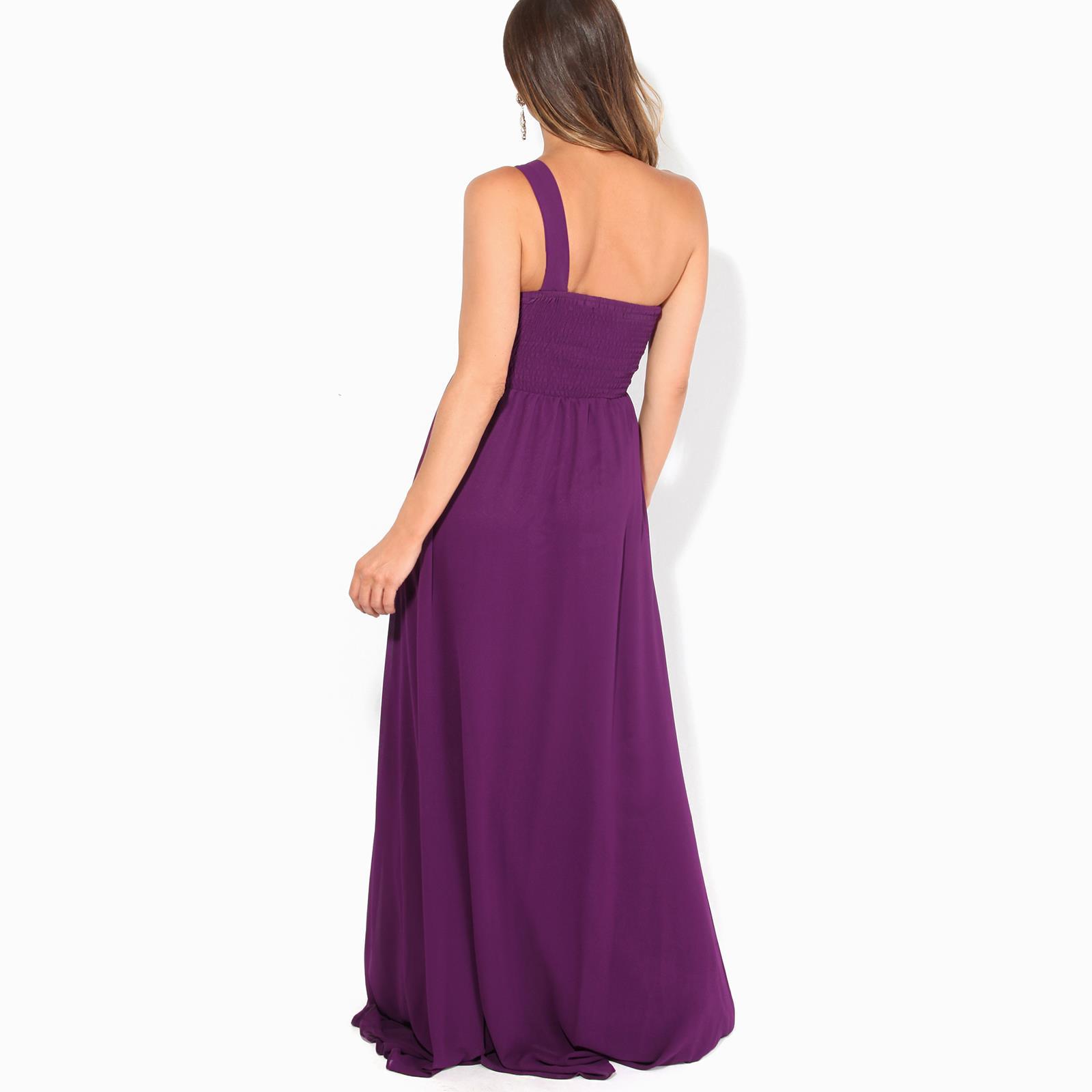 Womens-Wedding-Bridesmaid-Prom-Dress-Formal-One-Off-Shoulder-Long-Evening-8-18 thumbnail 53