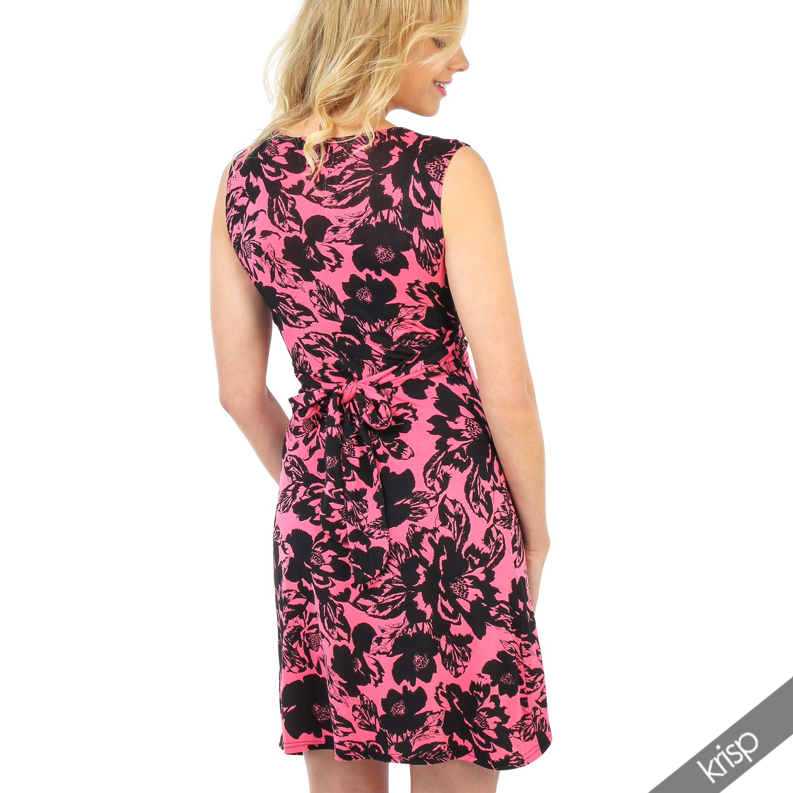 Womens-Ladies-Retro-Dress-Mini-Stretch-Drape-Ruched-Twist-Knot-Shift-Print thumbnail 4