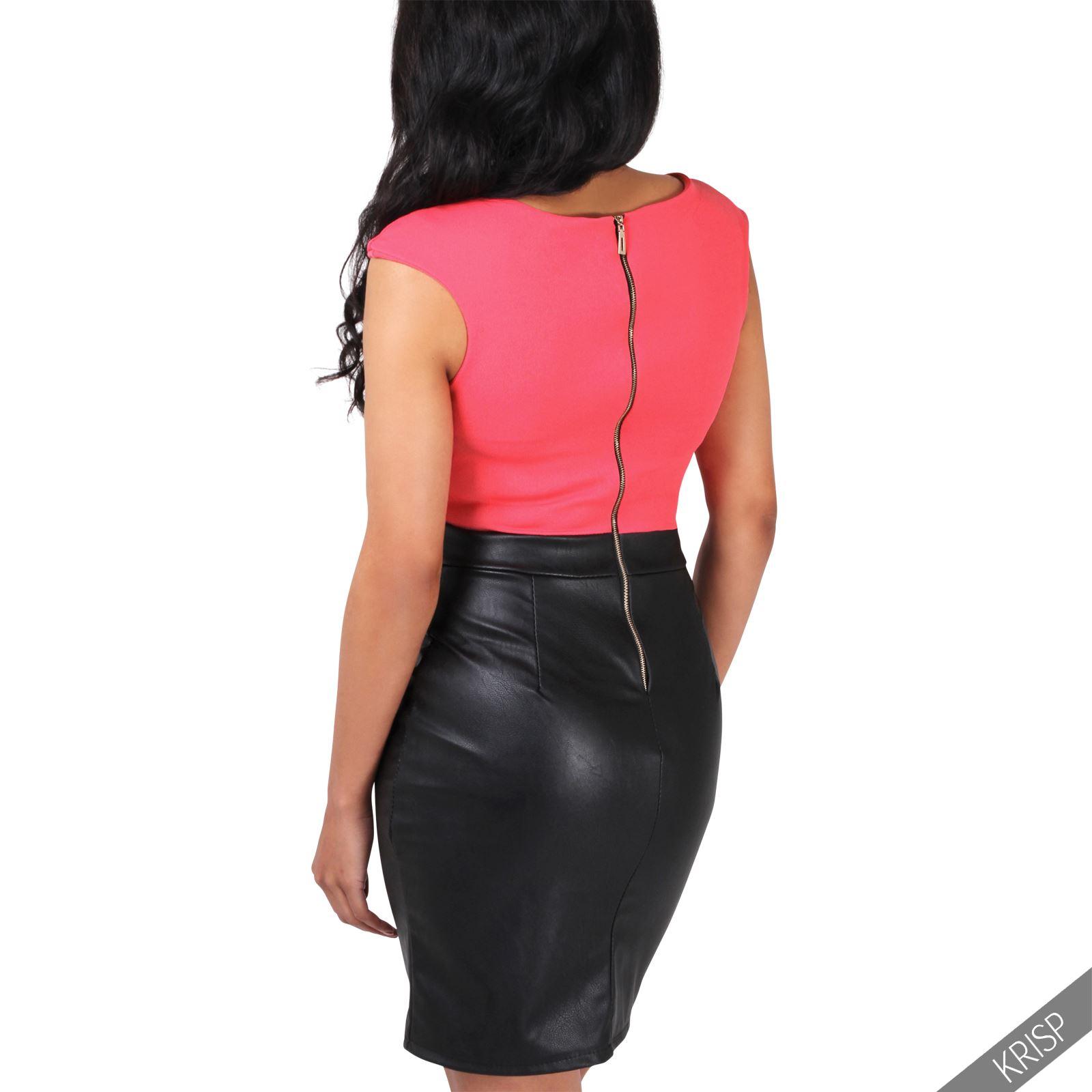 damen elegantes kleid kurzer kunstleder rock schwarz bleistiftrock stretchkleid ebay. Black Bedroom Furniture Sets. Home Design Ideas