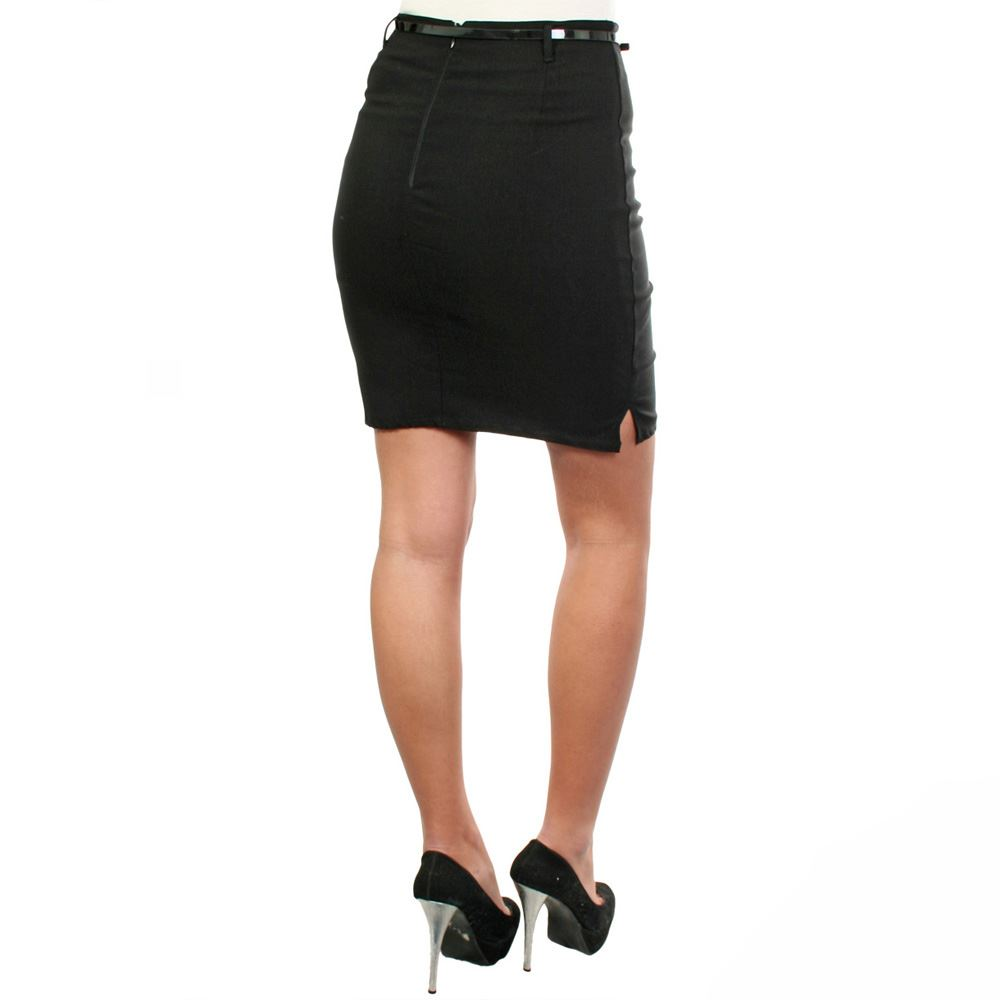 Womens-Belted-Fitted-Stretch-Pencil-Short-Mini-Skirt-Formal-Business-Evening thumbnail 6