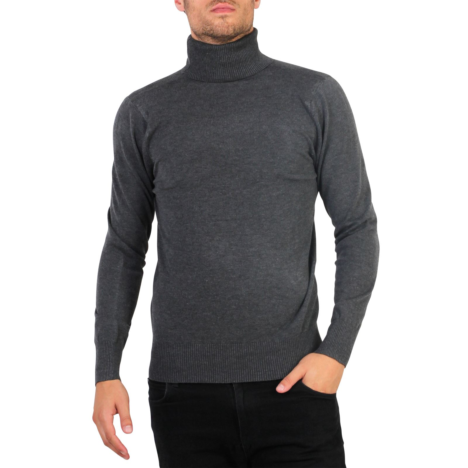 67220007dfbb Details about Mens Polo Turtle Roll Neck Jumper Cotton Knitwear Sweater  Winter Pullover Top