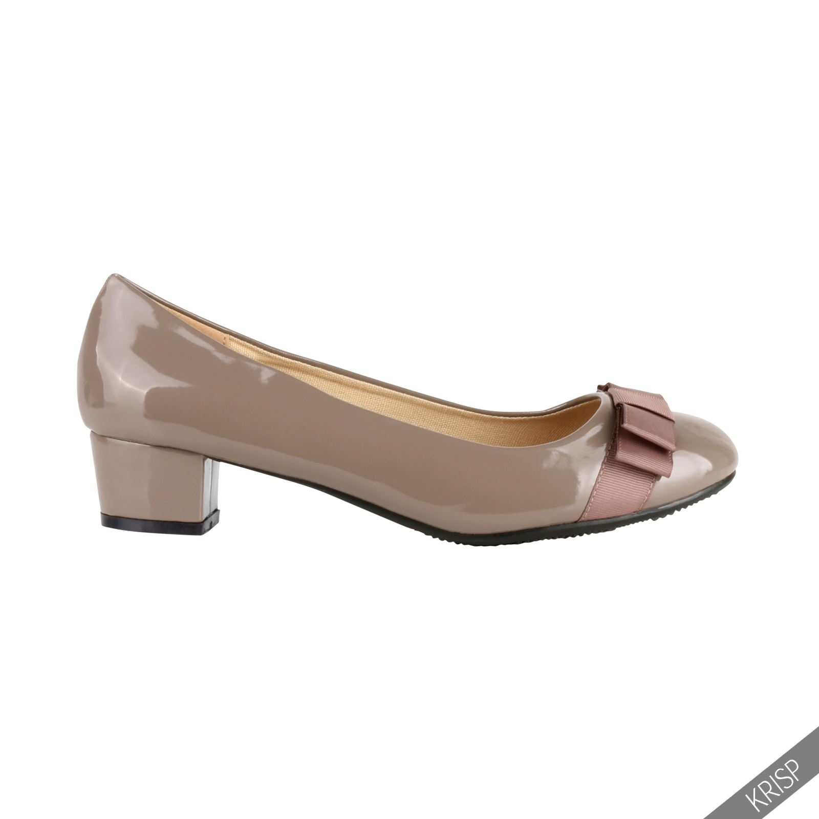 Low Heel Court Shoes Gold