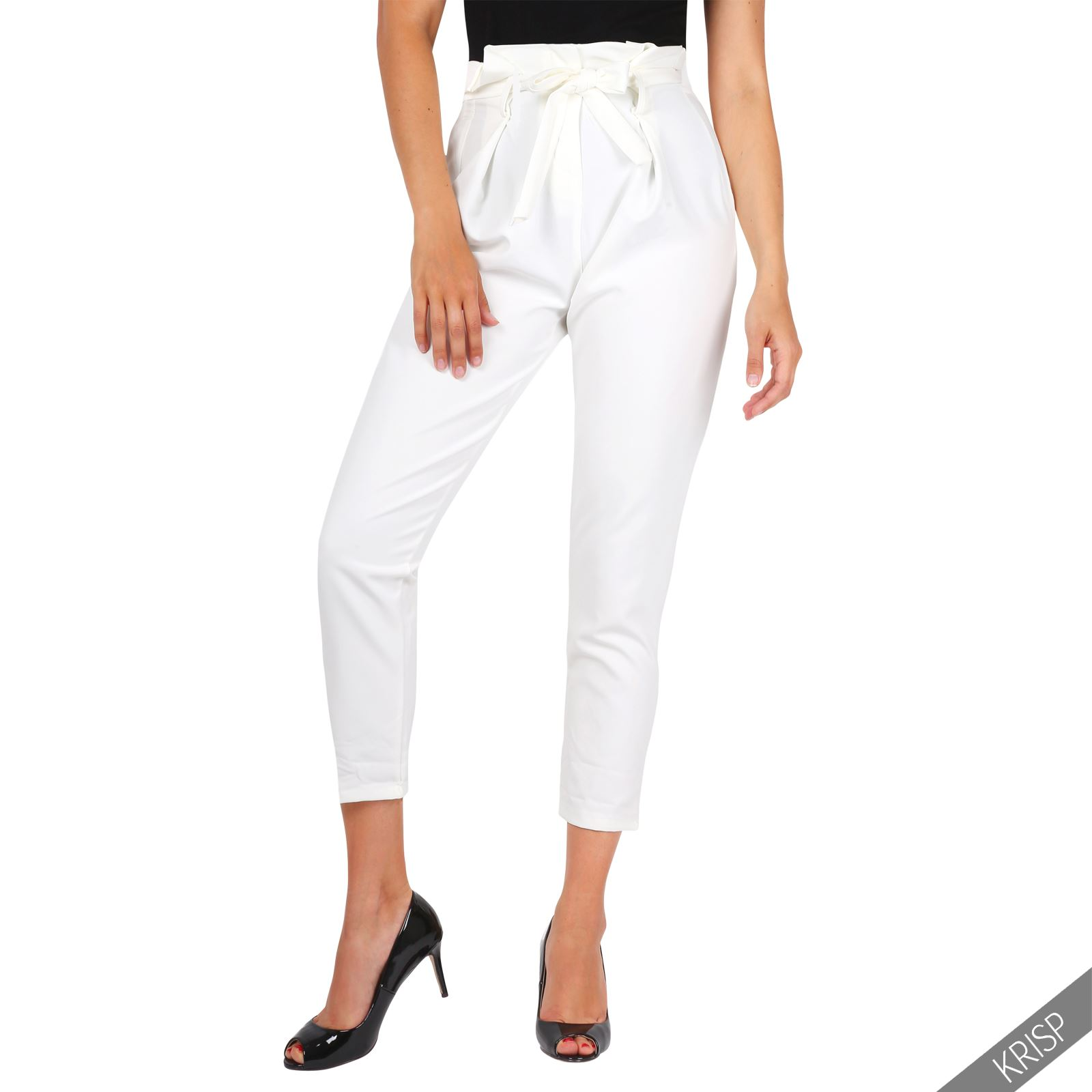 Women Formal Business Ruffle High Waist Pencil Trousers ...
