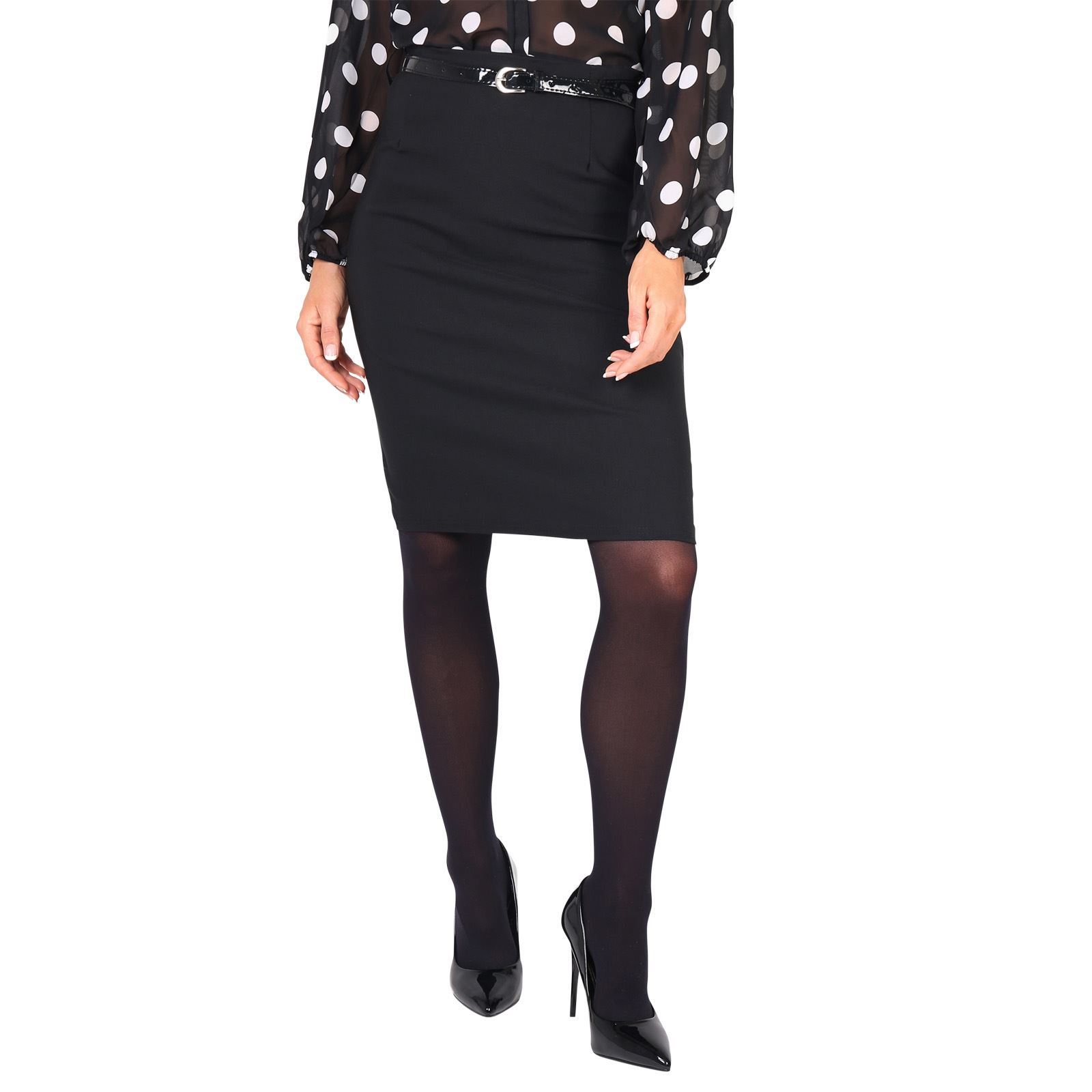Fitted Mid Knee Long Pencil Skirt Belt Formal Business ...