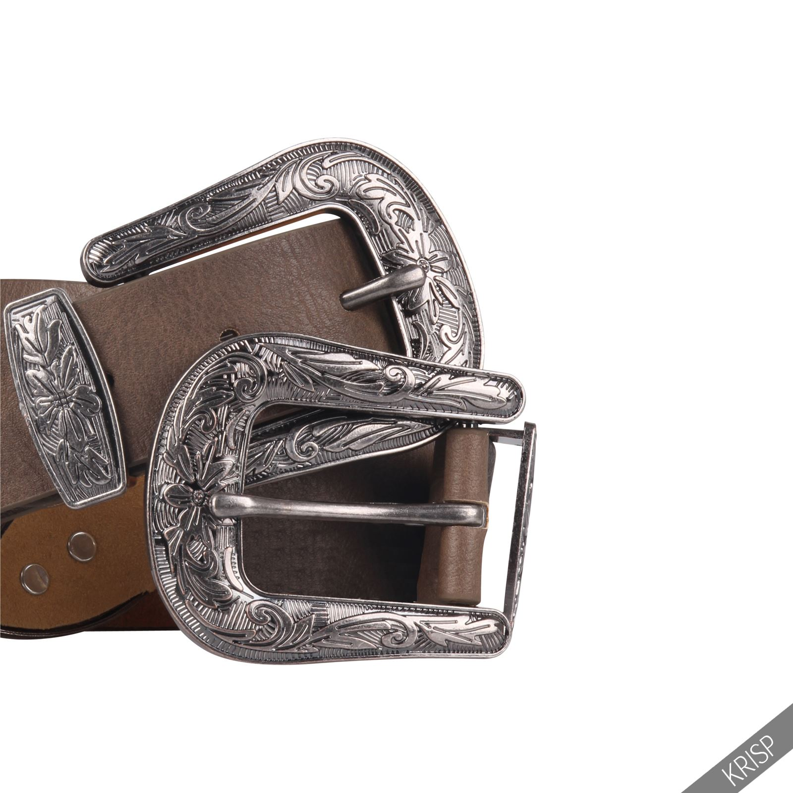 Womens Double Buckle Thick Quality Faux Leather Western ...