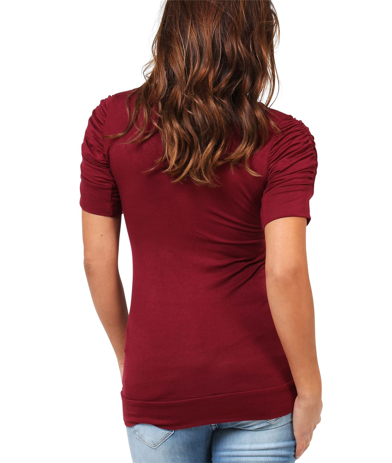 Womens-Ladies-Long-Blouse-Ruched-Pleated-Sleeve-Stretch-Jersey-Plunge-Top-Tshirt thumbnail 43