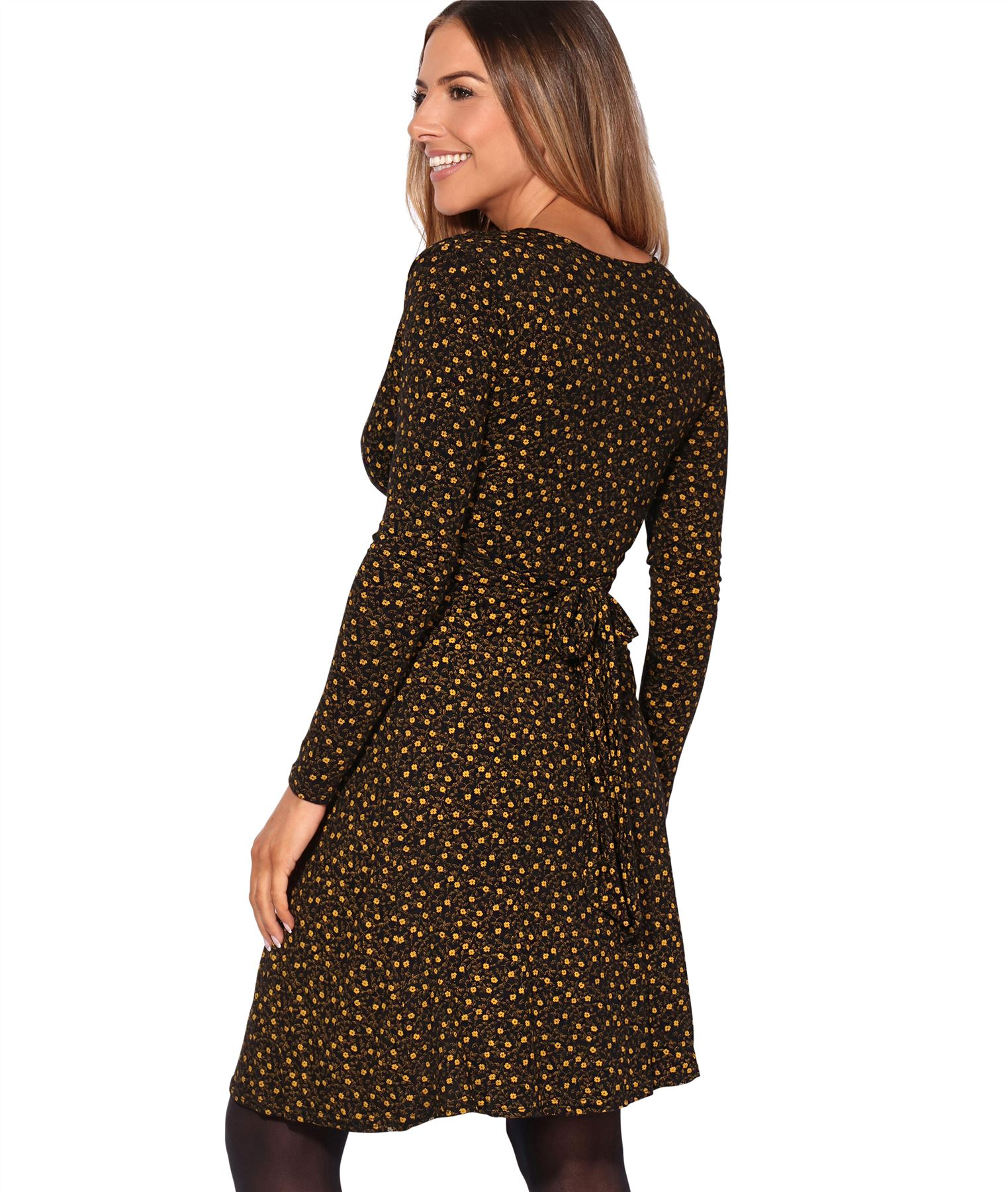 Womens-Ladies-Pattern-Dress-Drape-Print-Stretch-Long-Sleeve-Ruched-Knot-Party thumbnail 4