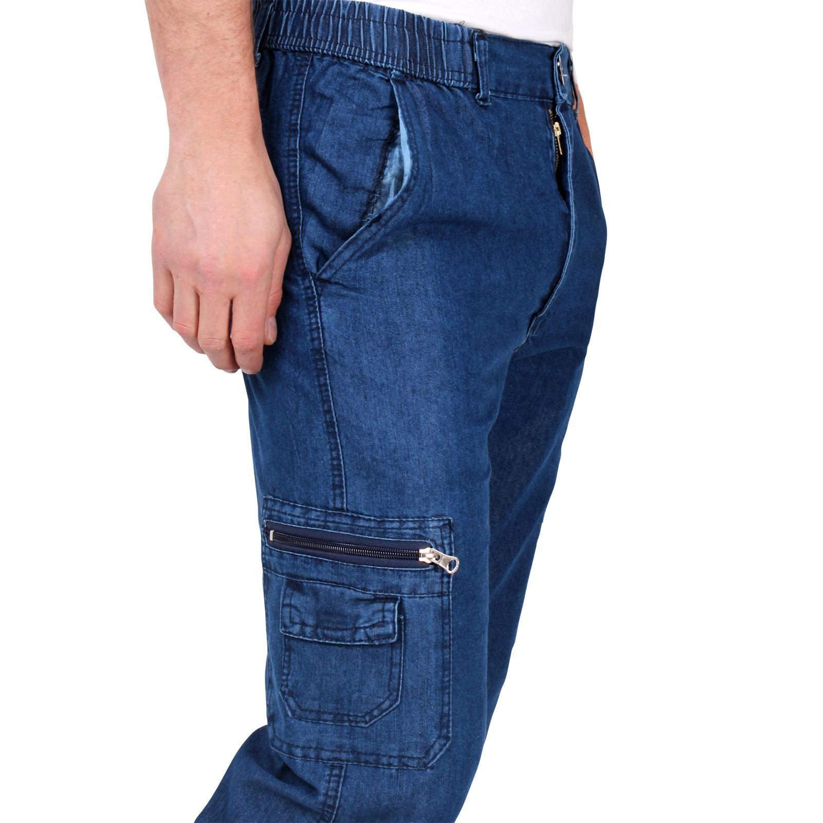 mens denim combat trousers jeans chinos elasticated waist