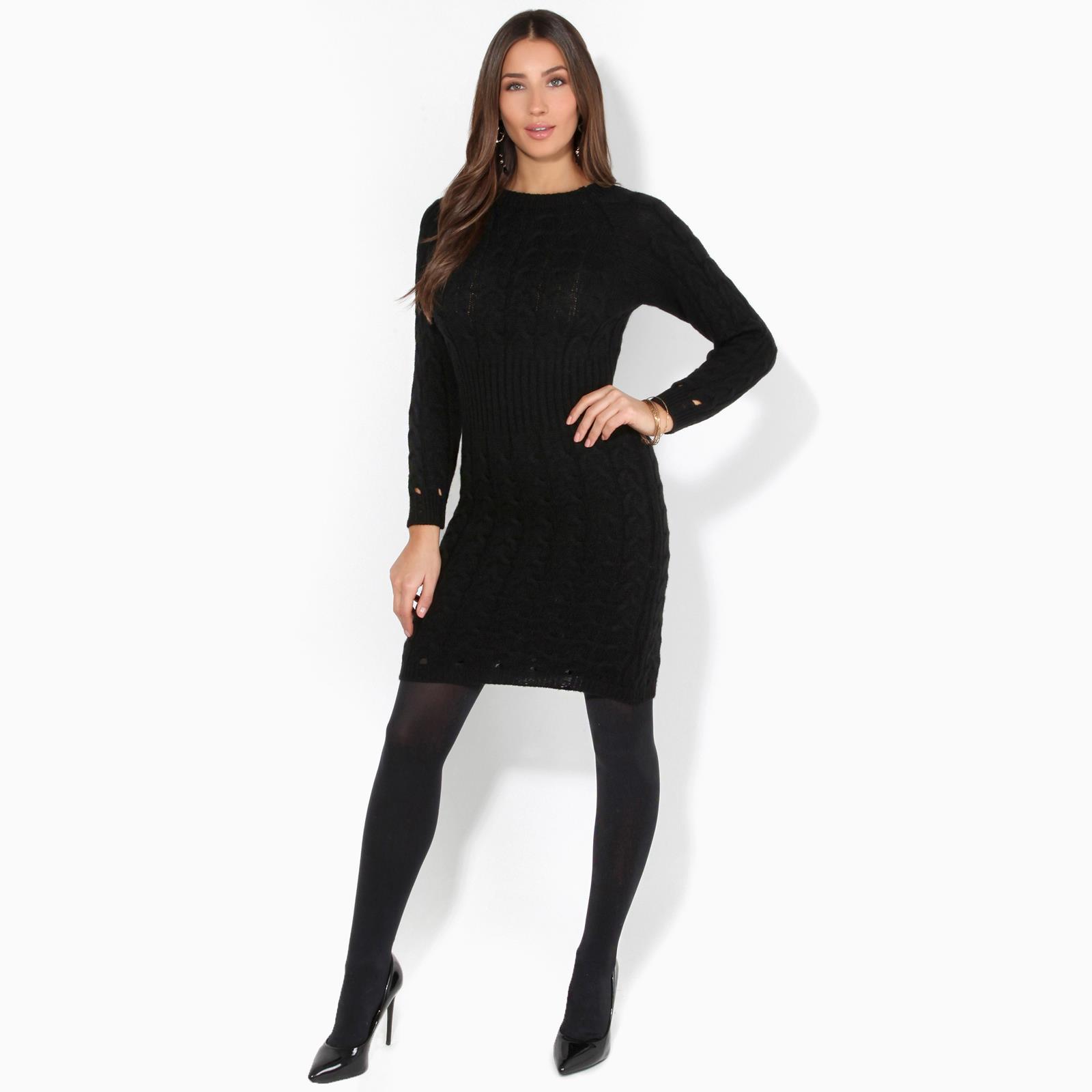 Womens-Ladies-Jumper-Dress-Longsleeve-Mini-Warm-Winter-Knit-Top-Bodycon thumbnail 6