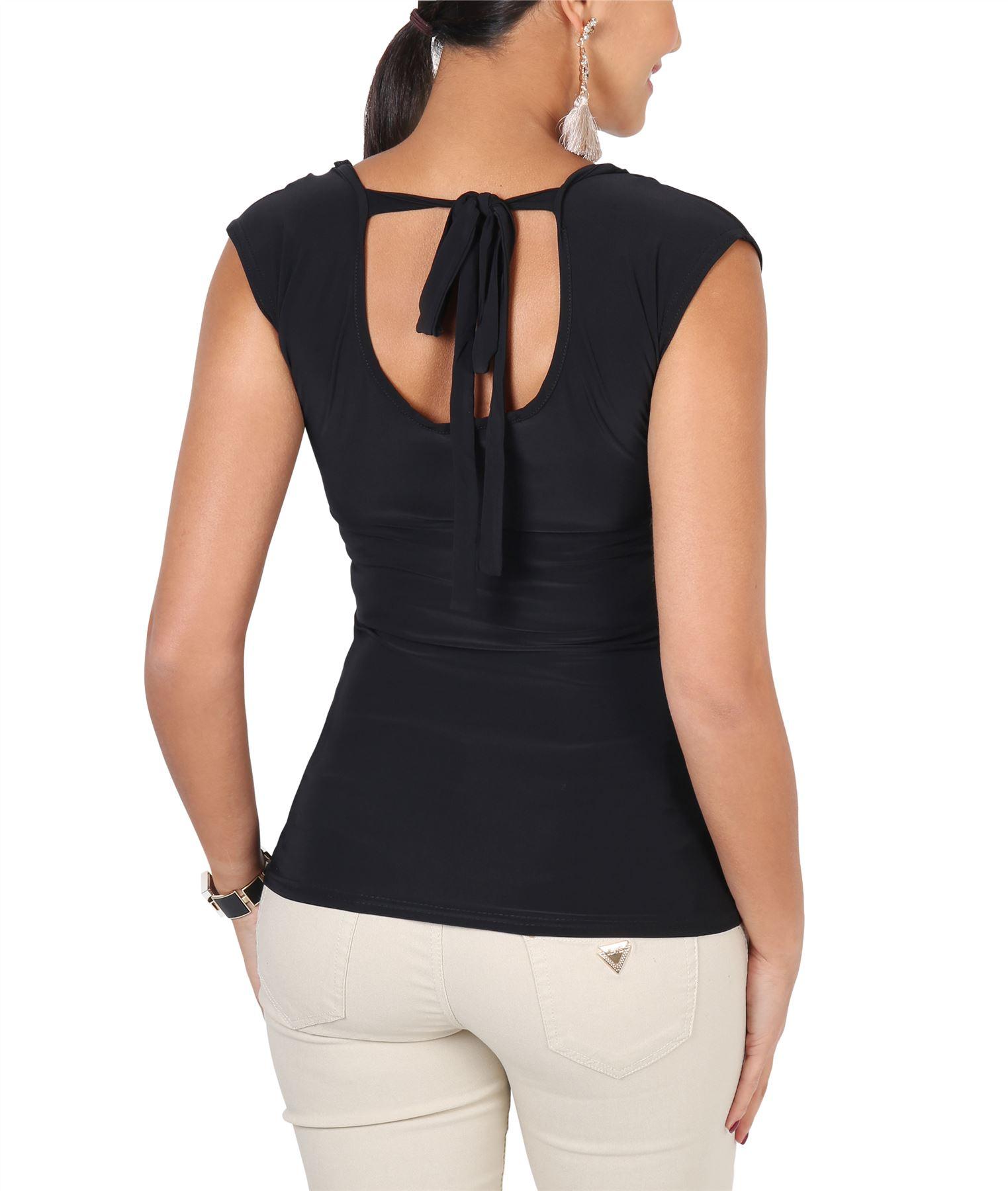 Womens-Ladies-Cowl-Neck-Top-Sleeveless-Silk-Drape-T-Shirt-Low-Cut-Back-Party thumbnail 5