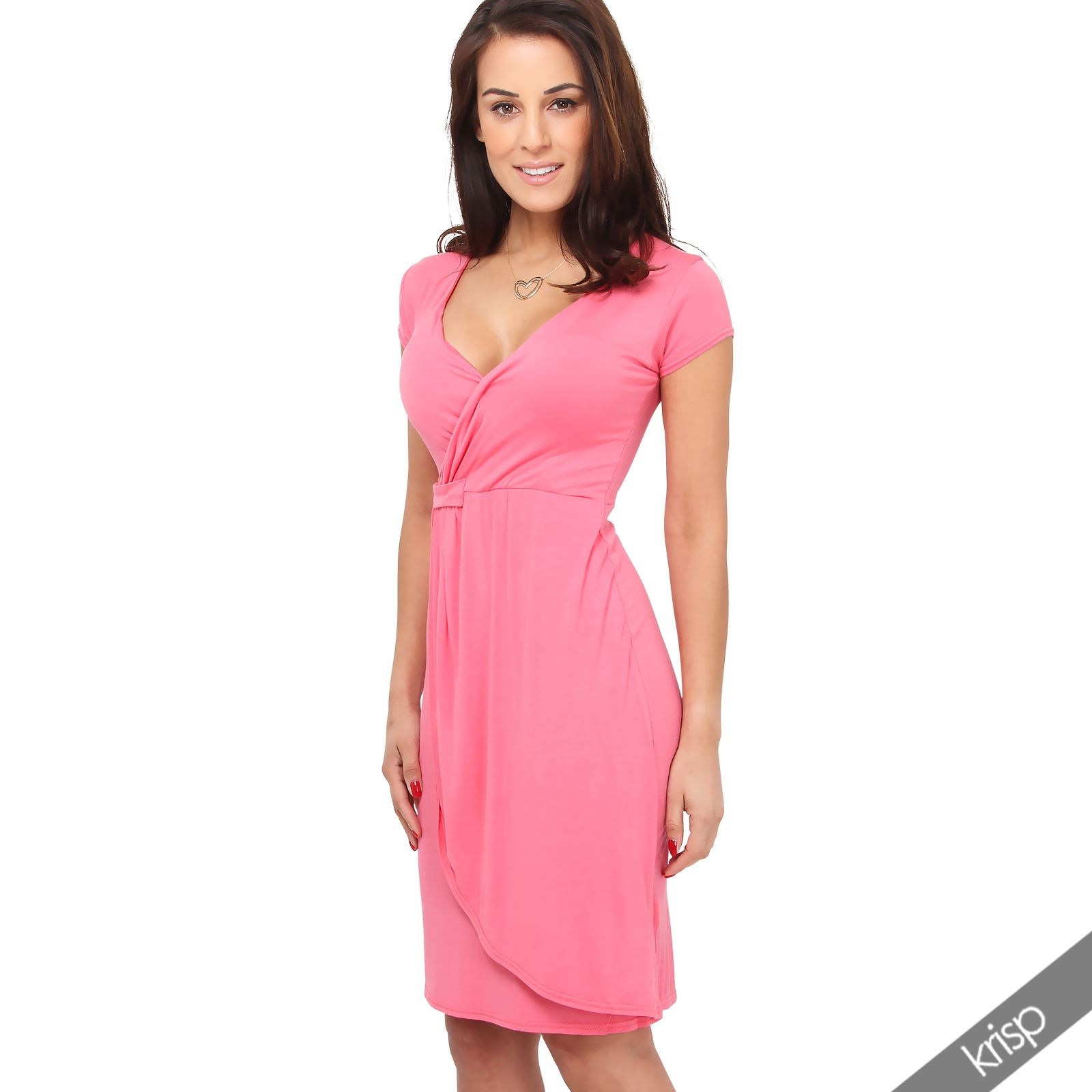 Womens-Ladies-V-Neck-Wrap-Midi-Dress-Front-Pleated-Skirt-Top-Cap-Sleeve-Party thumbnail 6