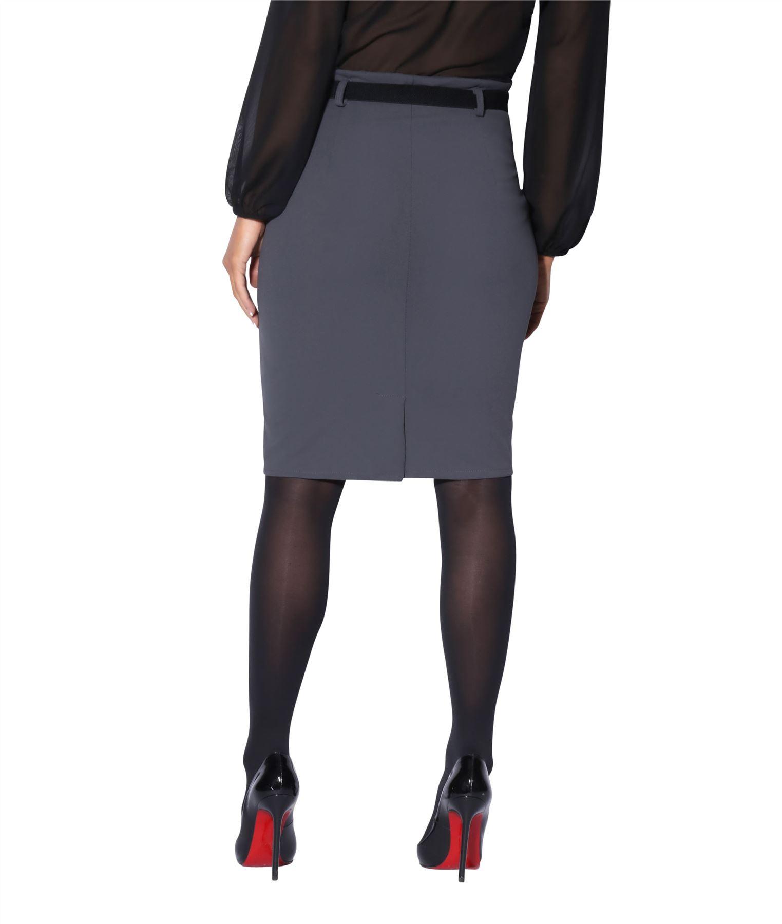 7c7c6820217c1 Details zu Damen High Waist Bleistiftrock Eleganter Rock Business Kleidung  Knielang Stretch