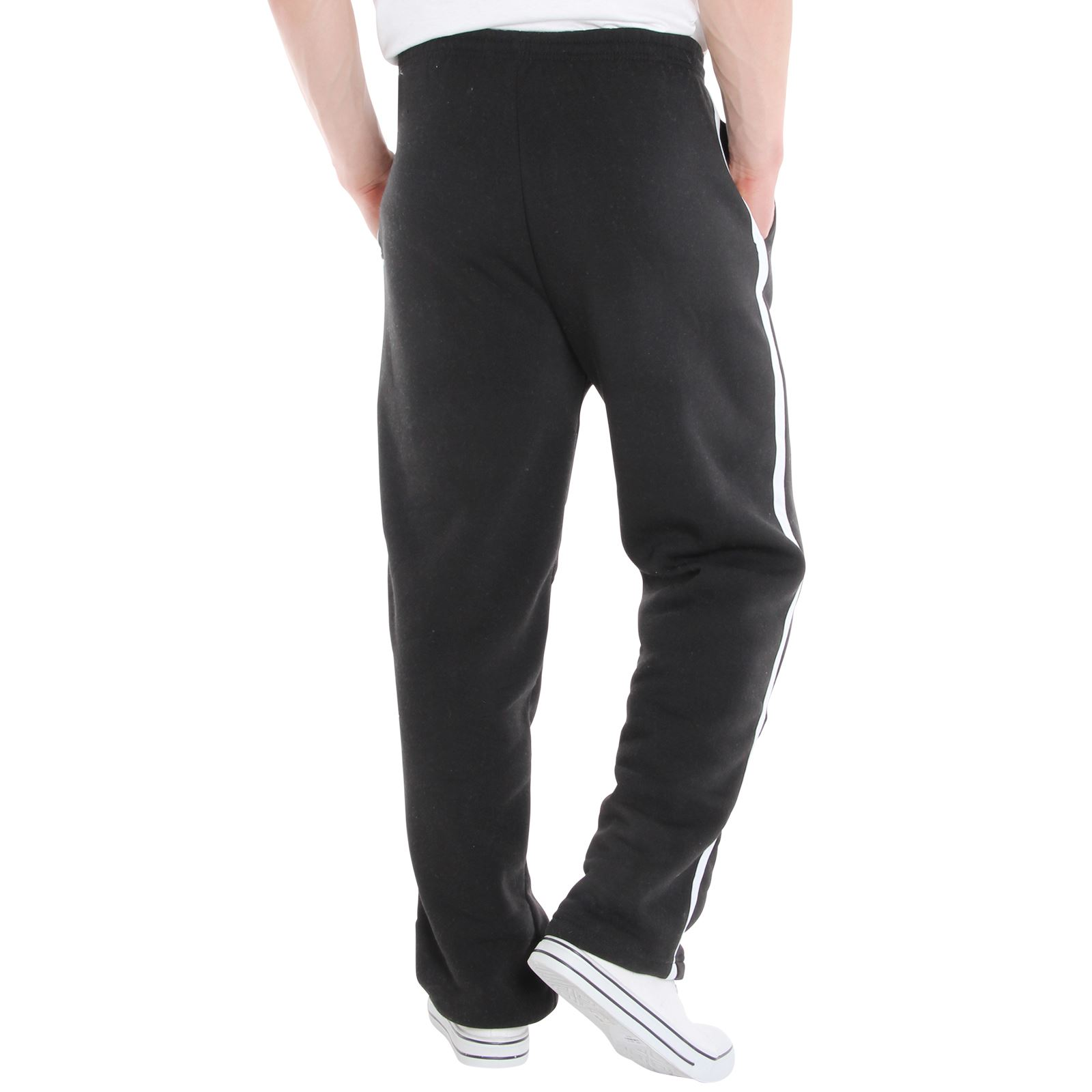 Mens-Tracksuit-Bottoms-Striped-Joggers-Jogging-Trousers-Fleece-Pants-Casual-Work thumbnail 8