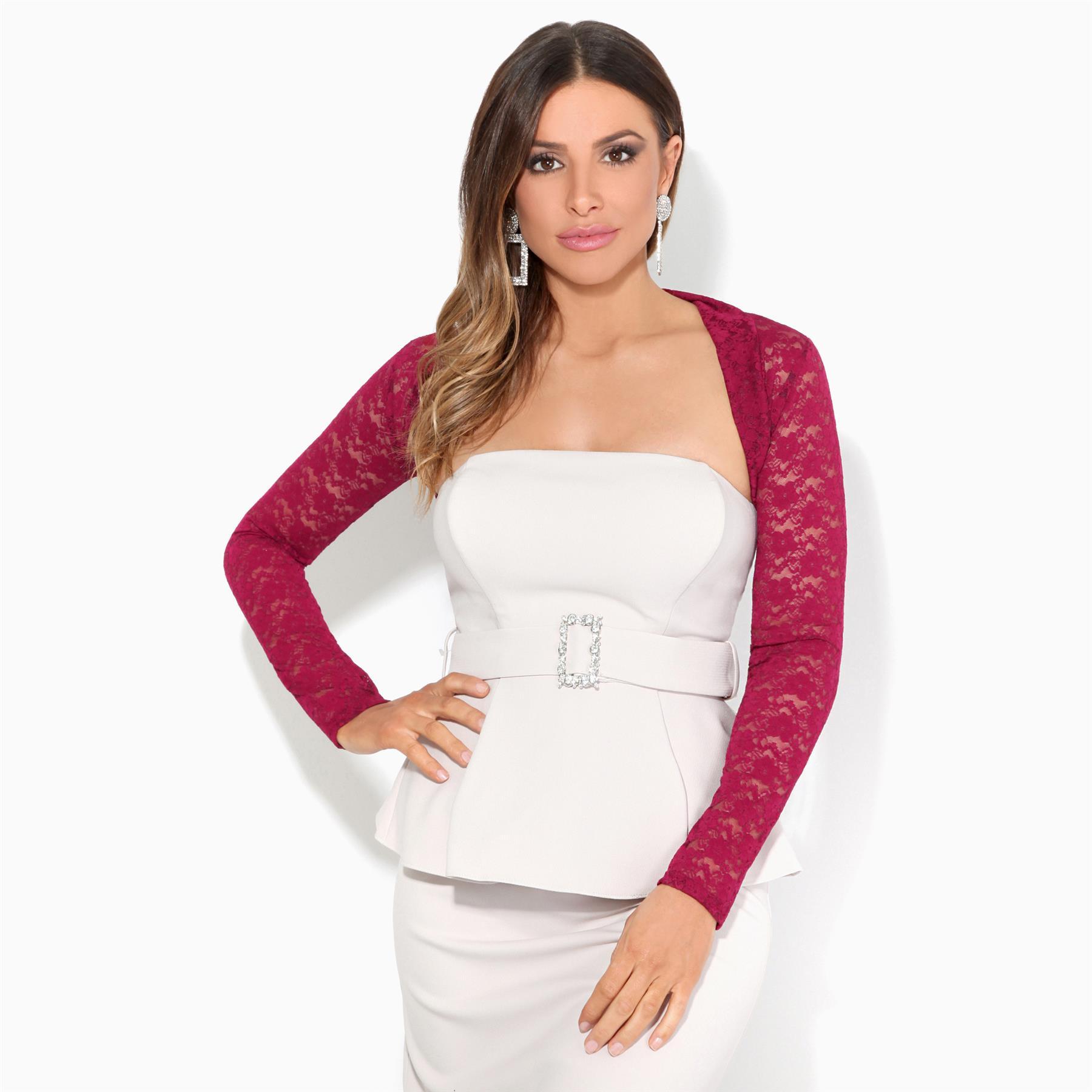 Details zu KRISP Damen Bolero Jacke Cardigan Festliches Jäckchen Elegante Schulterjacke Neu