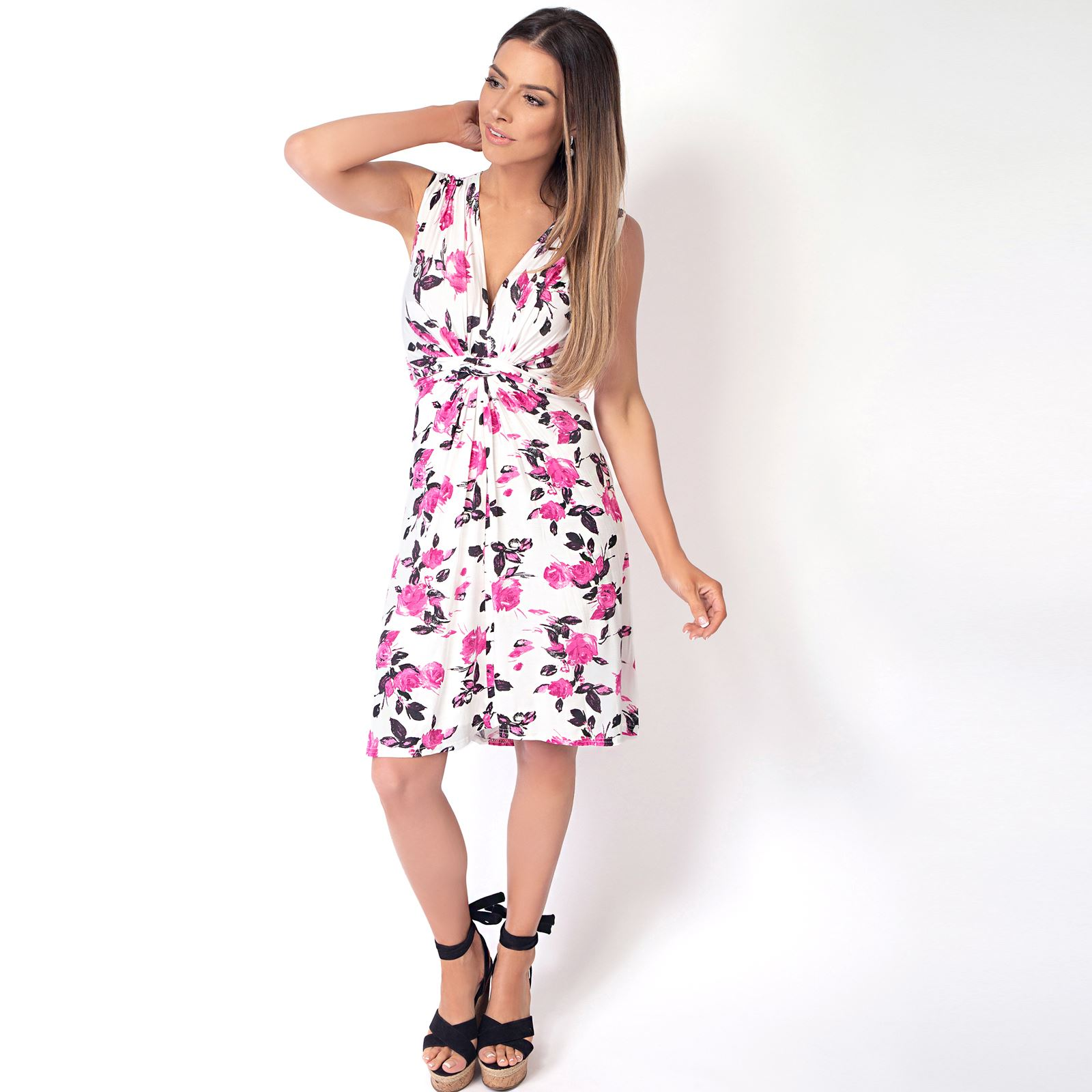 Womens-Floral-Print-Dress-Midi-Drape-Ruched-Front-Knot-Tie-Belt-Casual-Party thumbnail 9