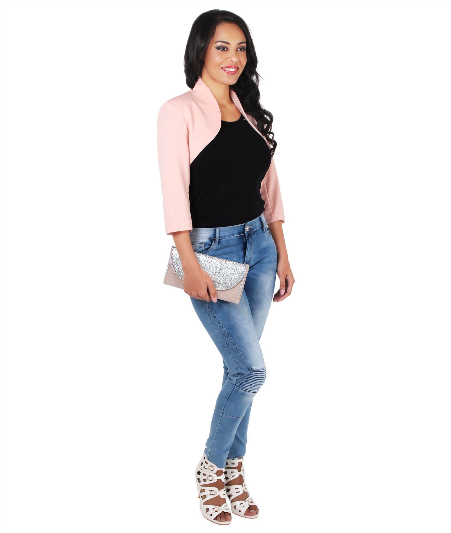 Womens-Tailored-Bolero-Shrug-Cropped-Top-Short-Sleeve-Party-Blazer-Jacket-Coat thumbnail 9