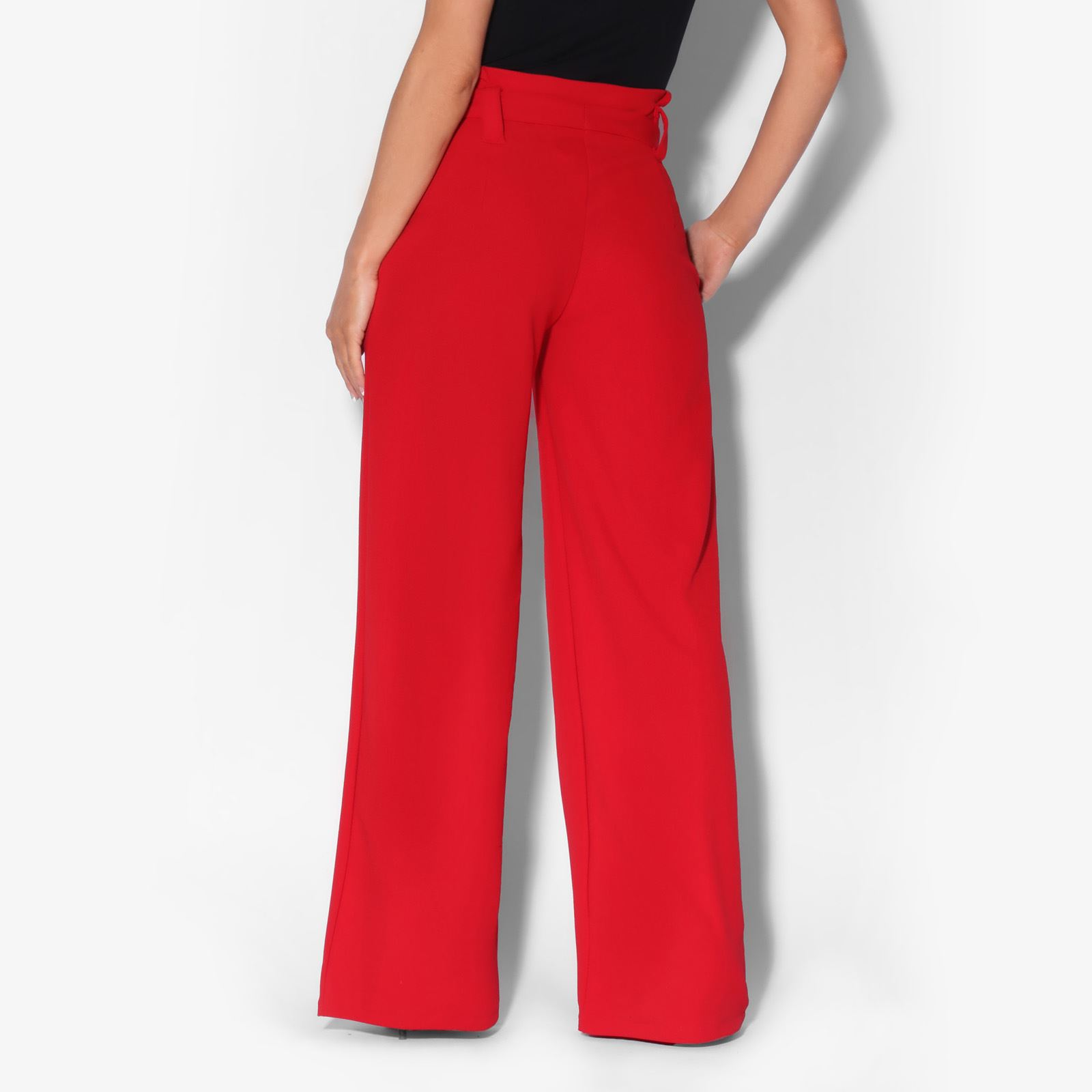 Womens-Ladies-High-Waist-Wide-Leg-Trousers-Paper-Bag-Flared-Leg-Palazzo-Pants thumbnail 7