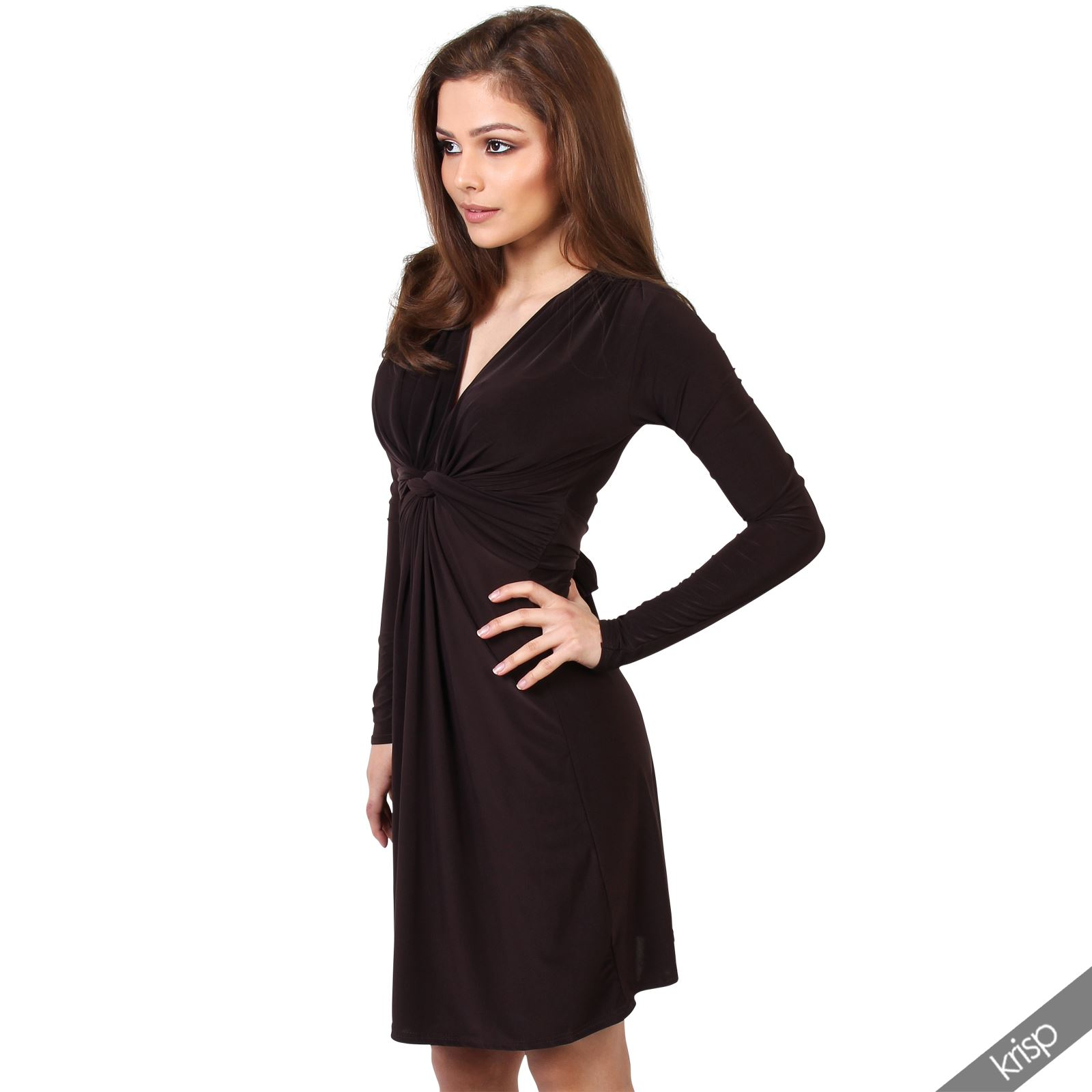 Womens-Ladies-V-Neck-Dress-Knee-Length-Mini-Ruched-Pleated-Swing-Top-Party thumbnail 28