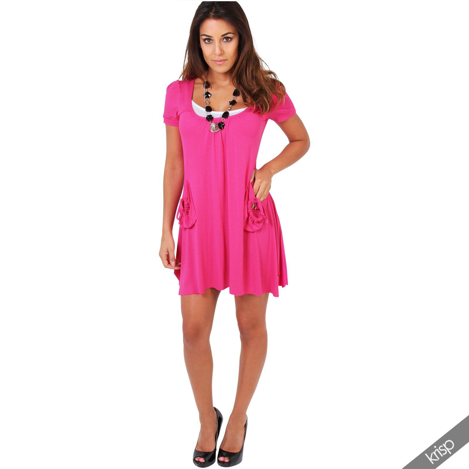 Womens Casual 2 in 1 Short Sleeve Mini Jersey Tunic Dress Loose ...