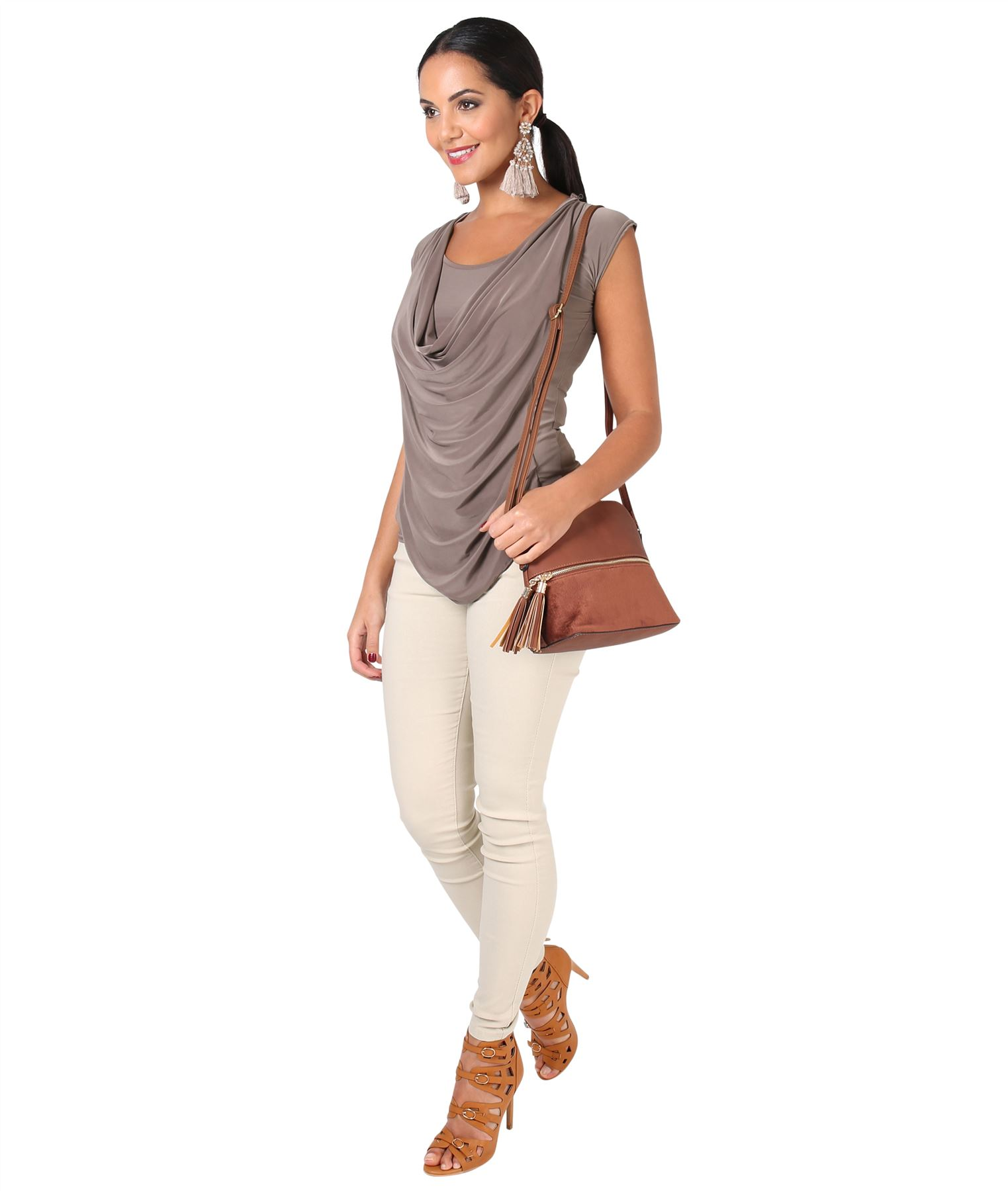Womens-Ladies-Cowl-Neck-Top-Sleeveless-Silk-Drape-T-Shirt-Low-Cut-Back-Party thumbnail 11