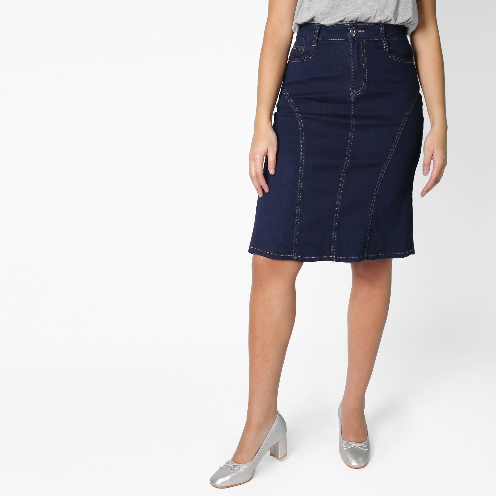 Crayon Jeans Femmes Fonce Brut Jupe Denim Uni npwYqP8v
