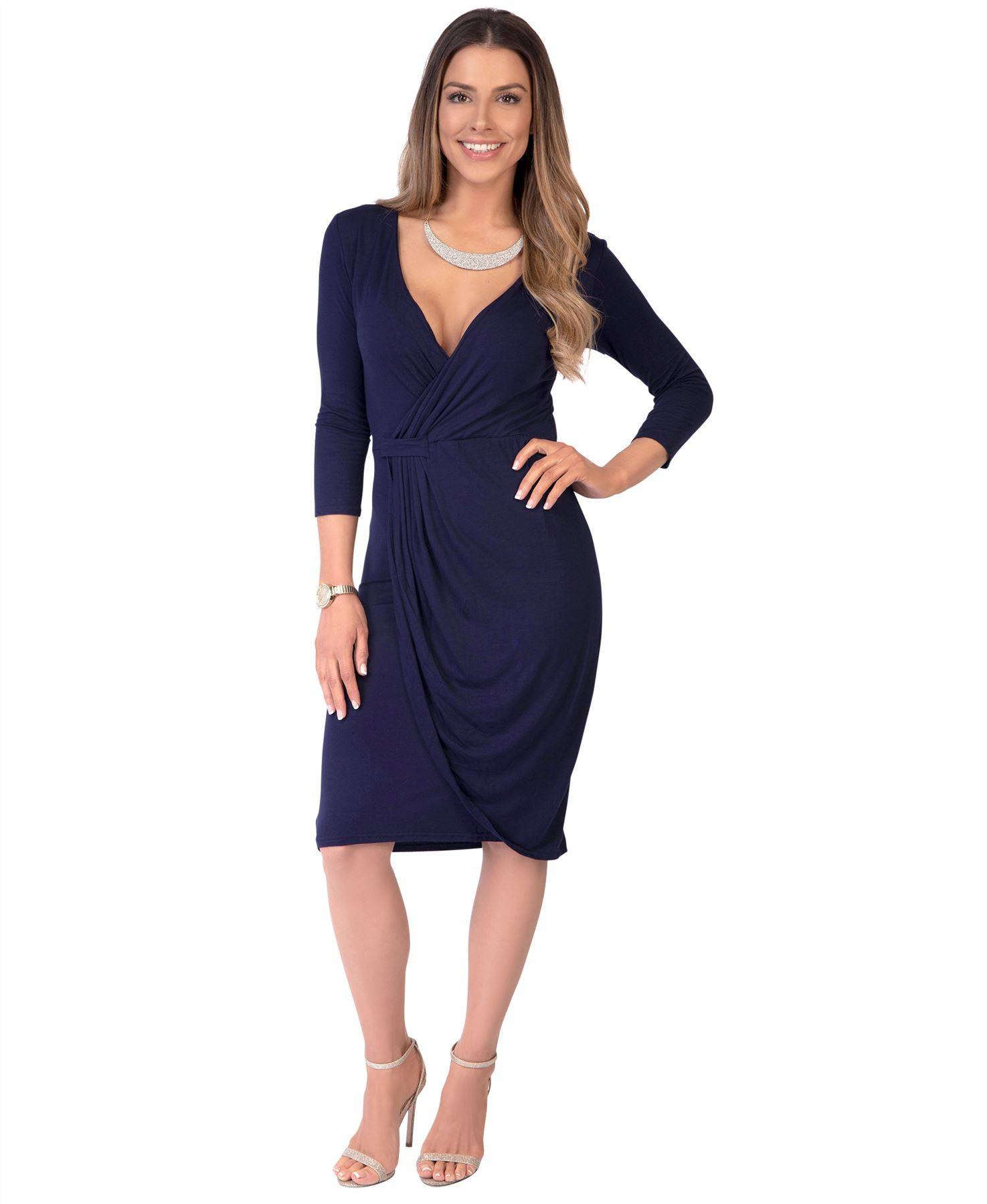 Womens-Ladies-Shift-Wrap-Dress-Midi-Knee-Long-Quarter-Sleeve-Sexy-Solid-Party thumbnail 18