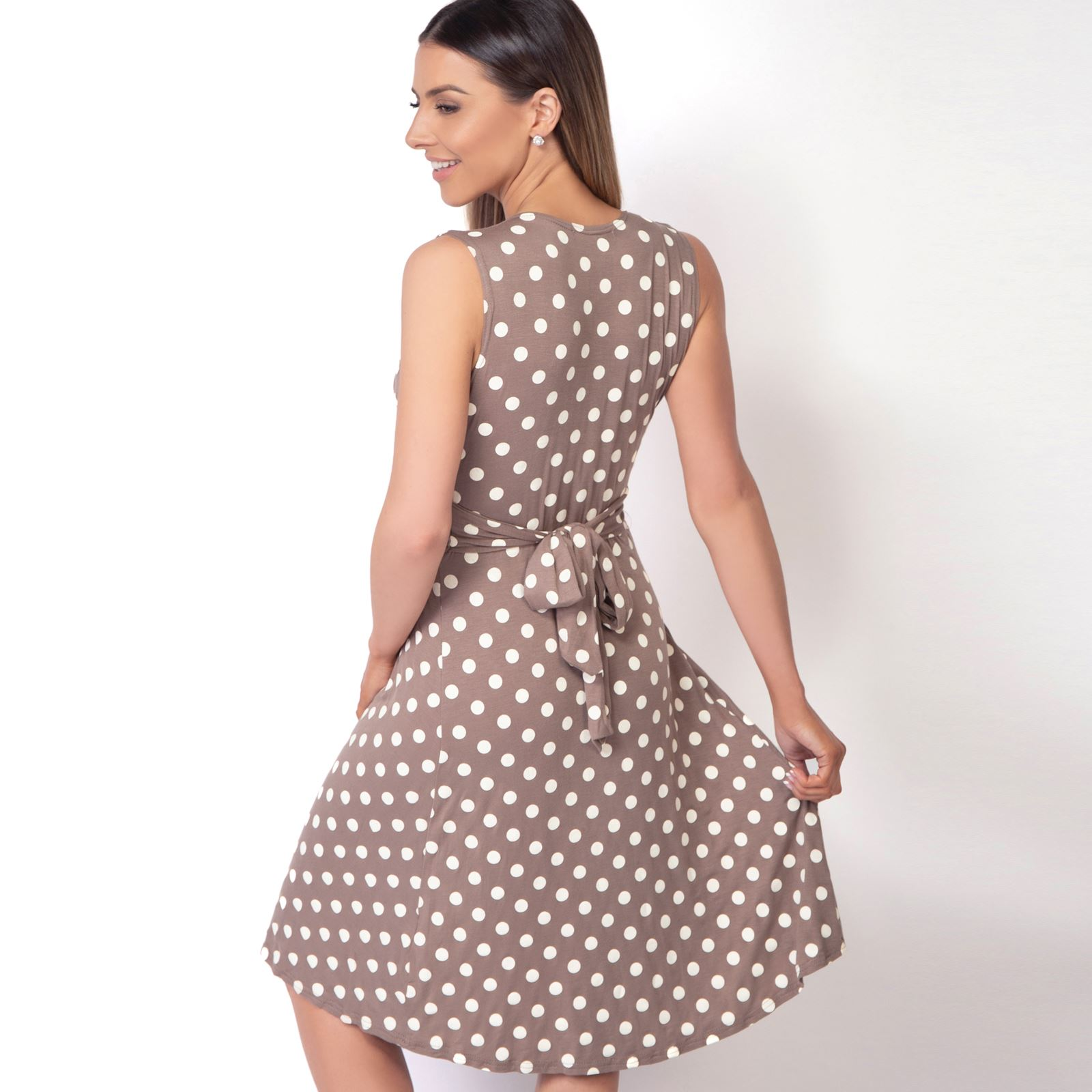 Womens-Polka-Dot-Retro-Dress-Pleated-Skirt-Wrap-Mini-V-Neck-Top-Swing-Party thumbnail 22